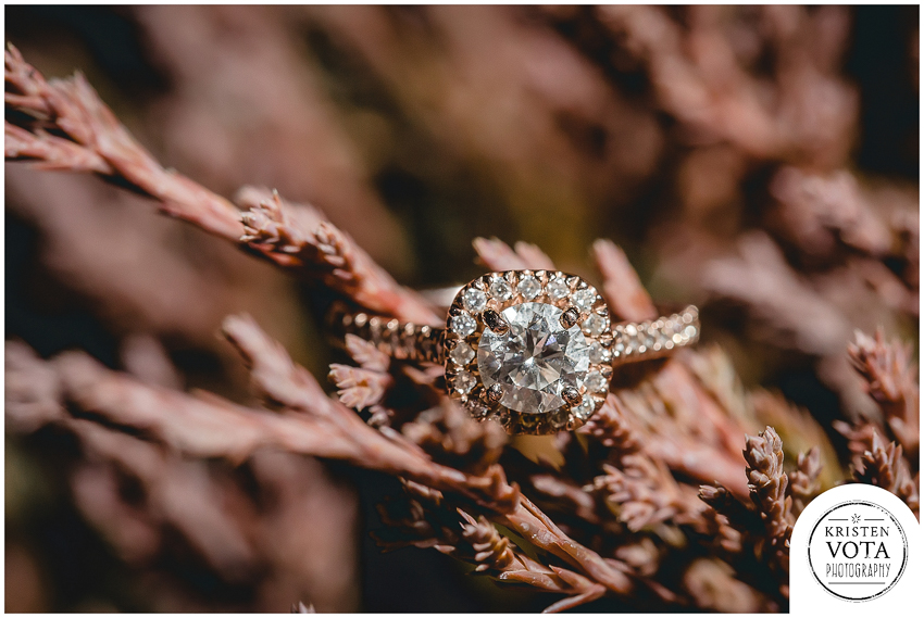 Rosegold engagement ring from a downtown Pittsburgh engagement session