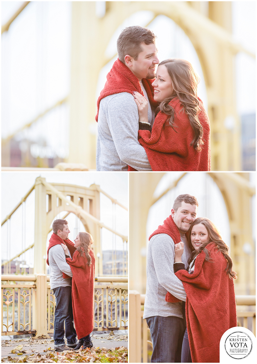 Newly engaged couple during their downtown Pittsburgh engagement session