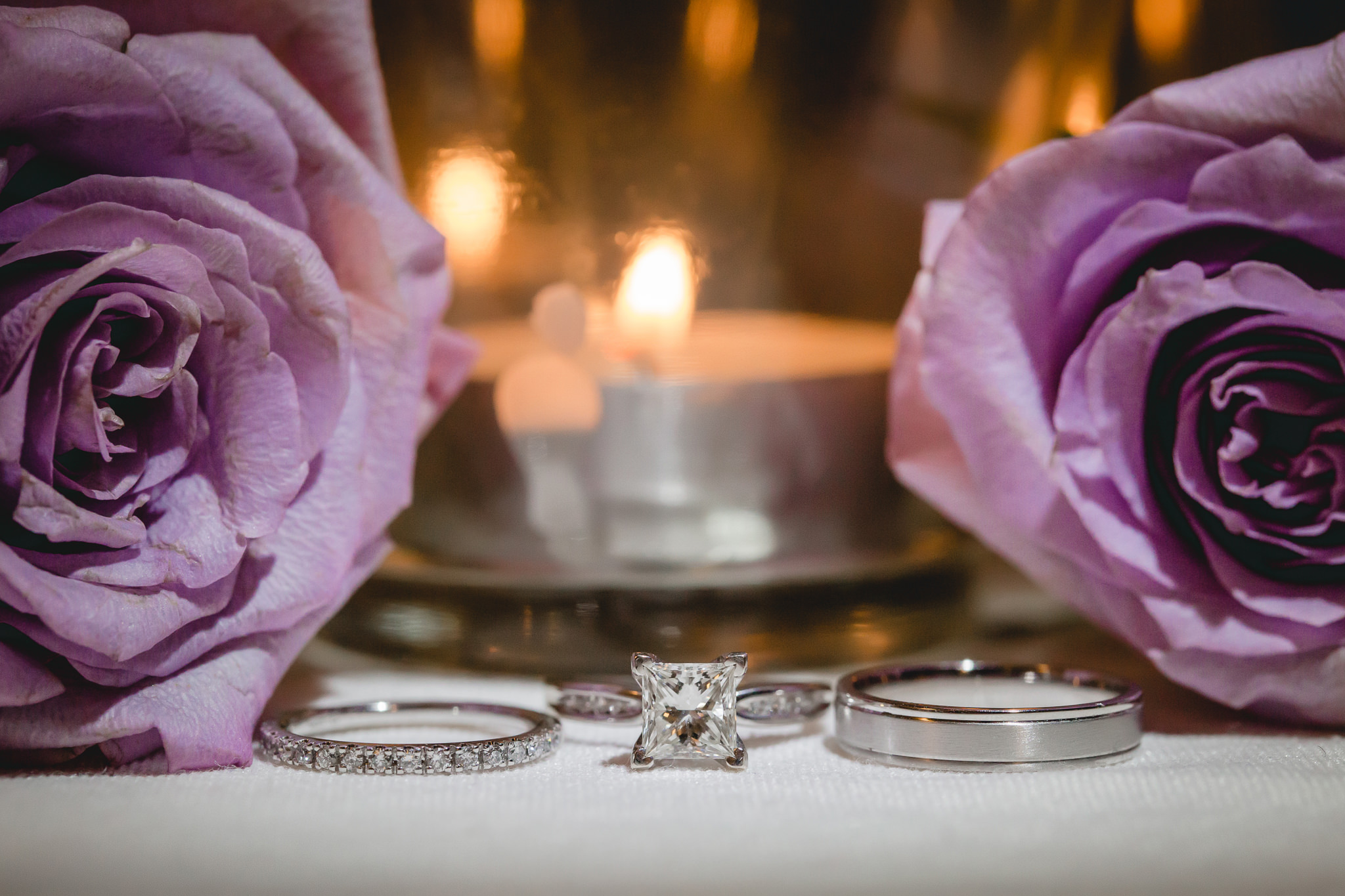Wedding bands and engagement ring at a Pittsburgh Airport Marriott reception