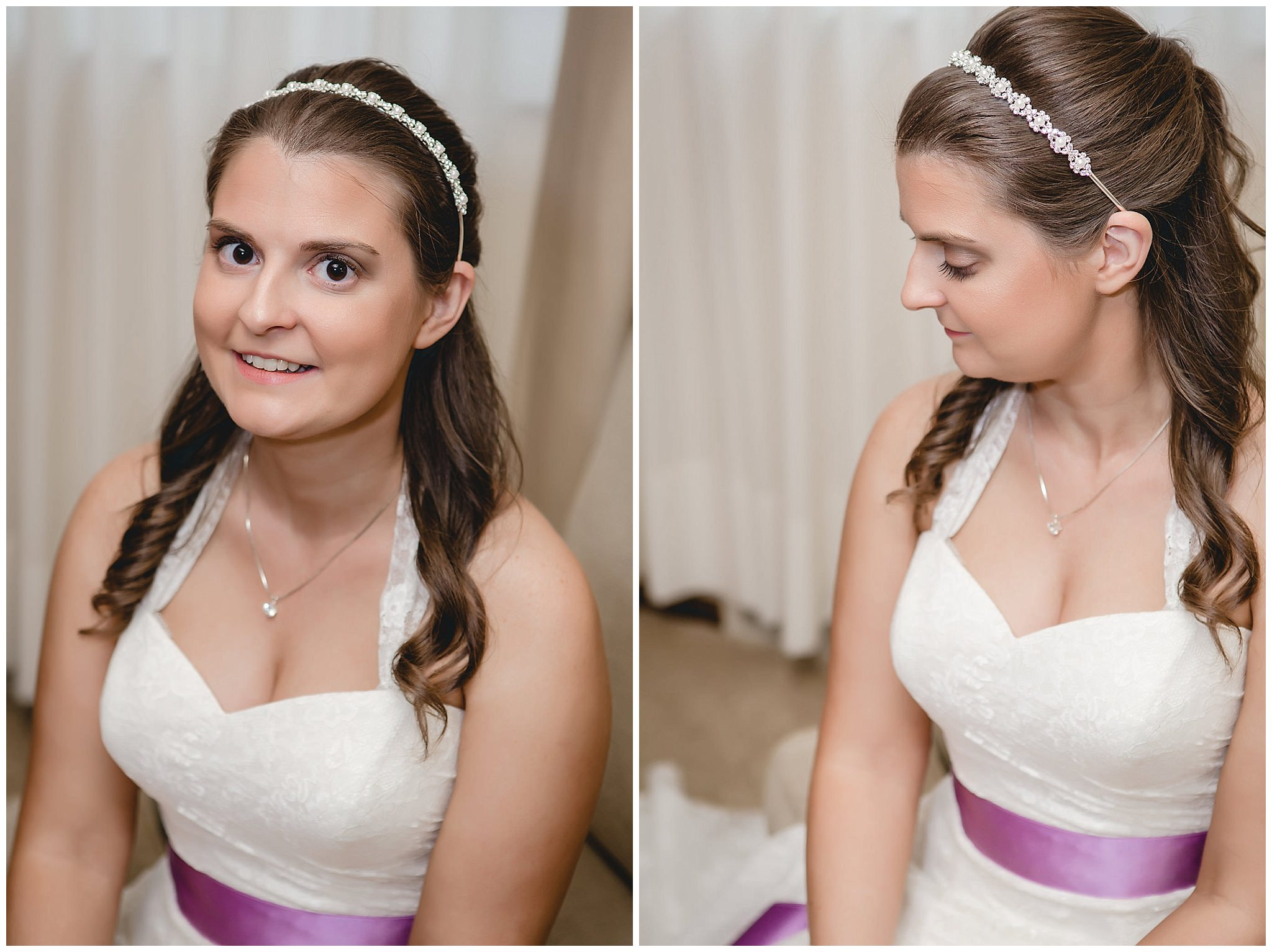 Bridal portrait with dress from David's bridal and hair by Philip Pelusi