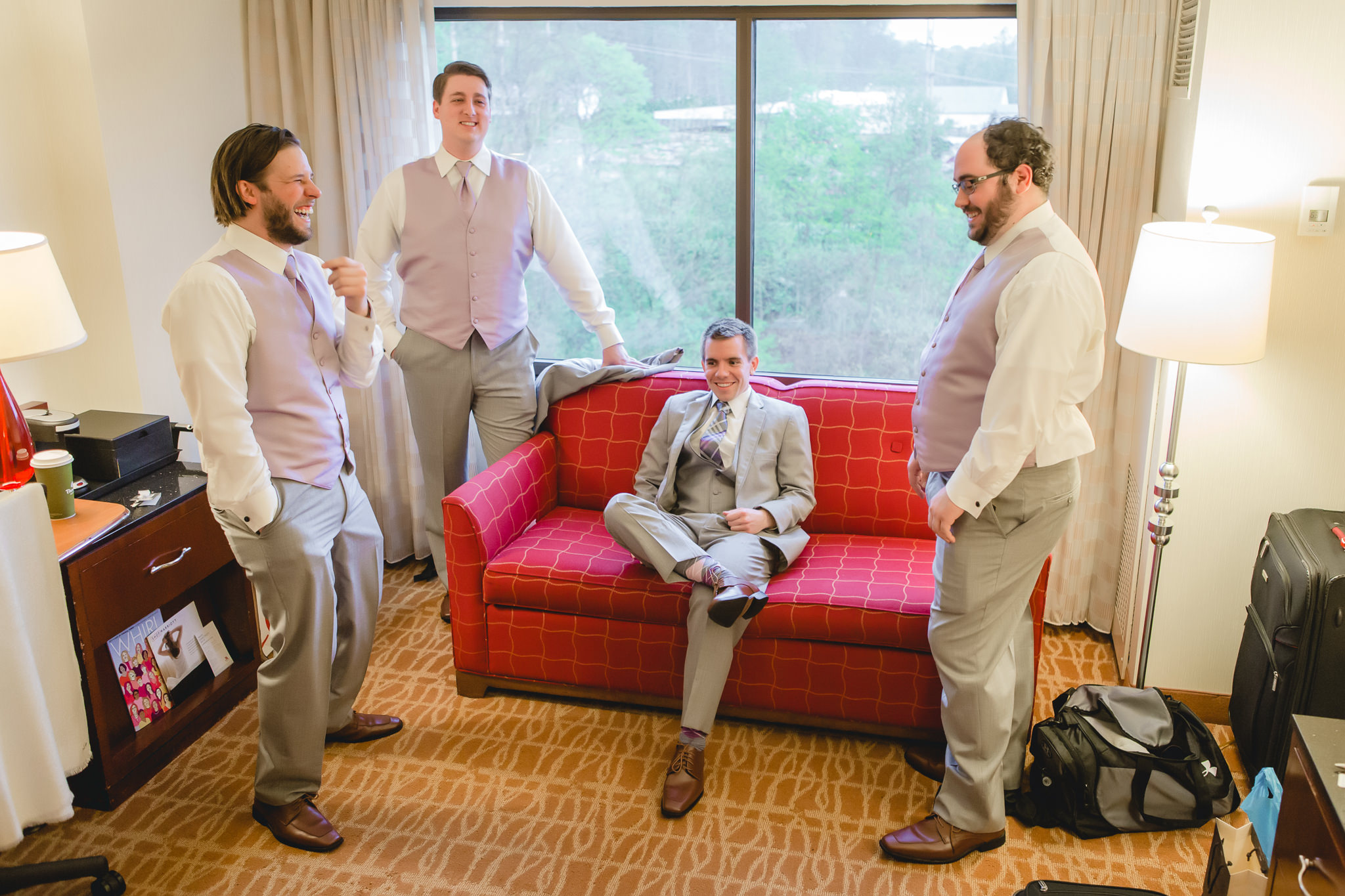 Groomsmen relaxing before the wedding at the Pittsburgh Airport Marriott
