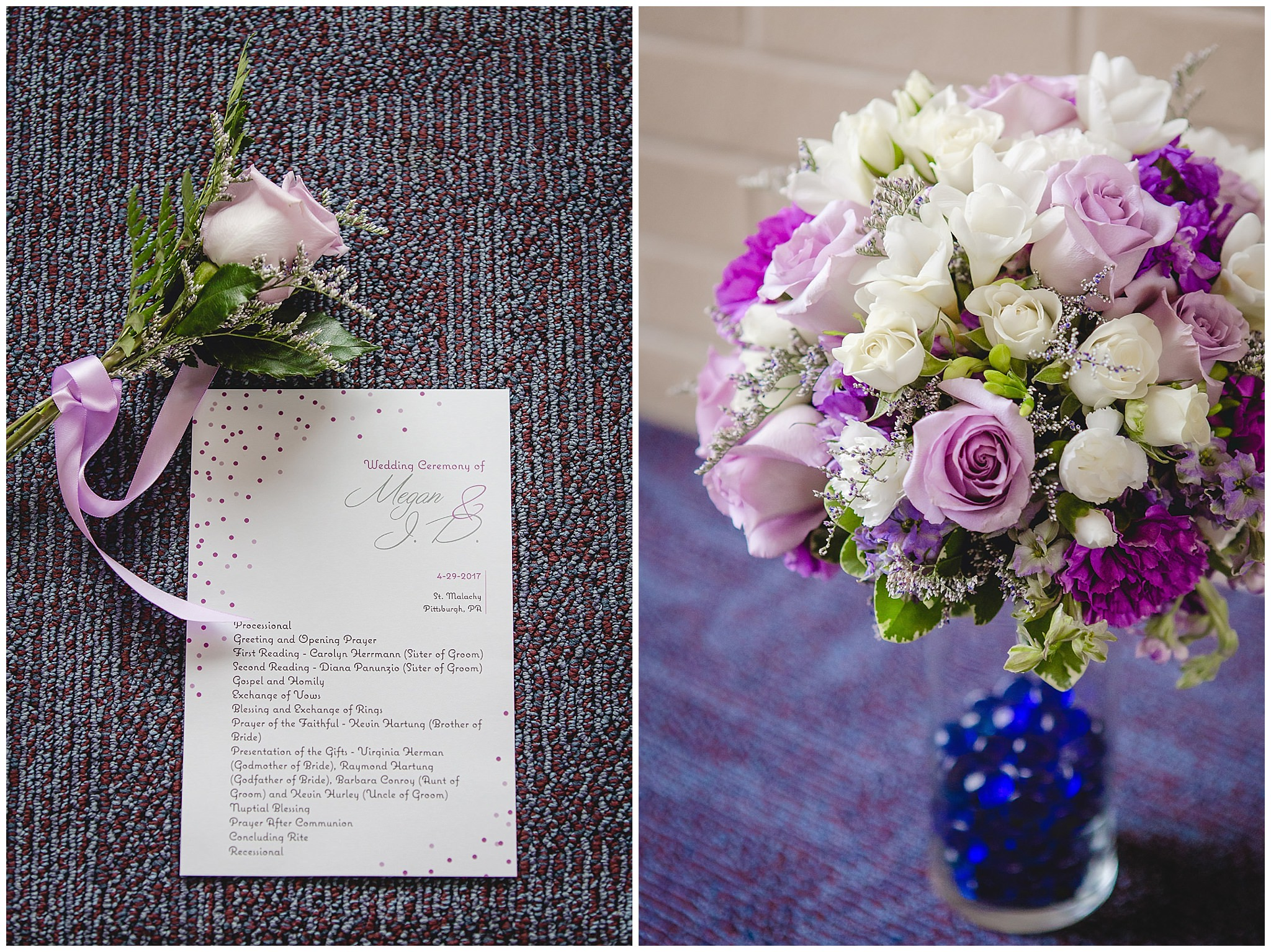 Wedding program and bride's bouquet by Carrie Anne Powell Floral Designs