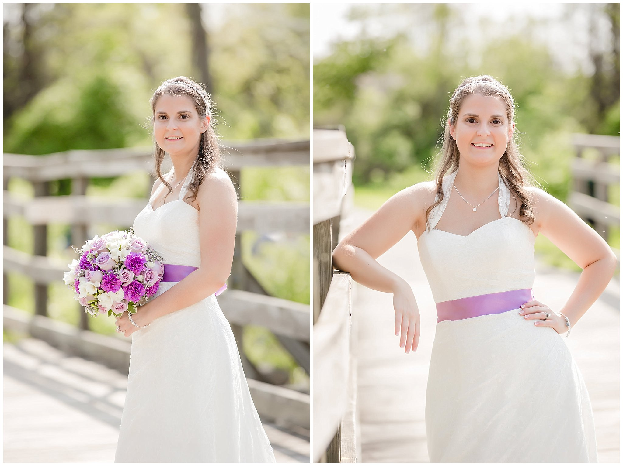 Bride poses for portraits on the Montour Trail