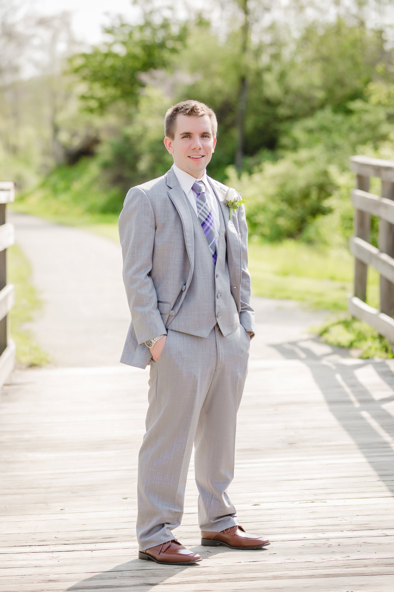 Portrait of the groom before his Pittsburgh Airport Marriott wedding reception