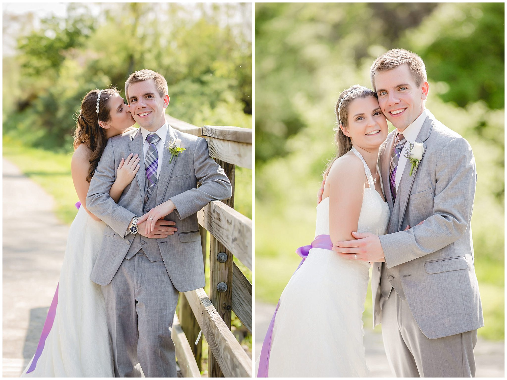 Bride & groom pose for portraits on the Montour Trail
