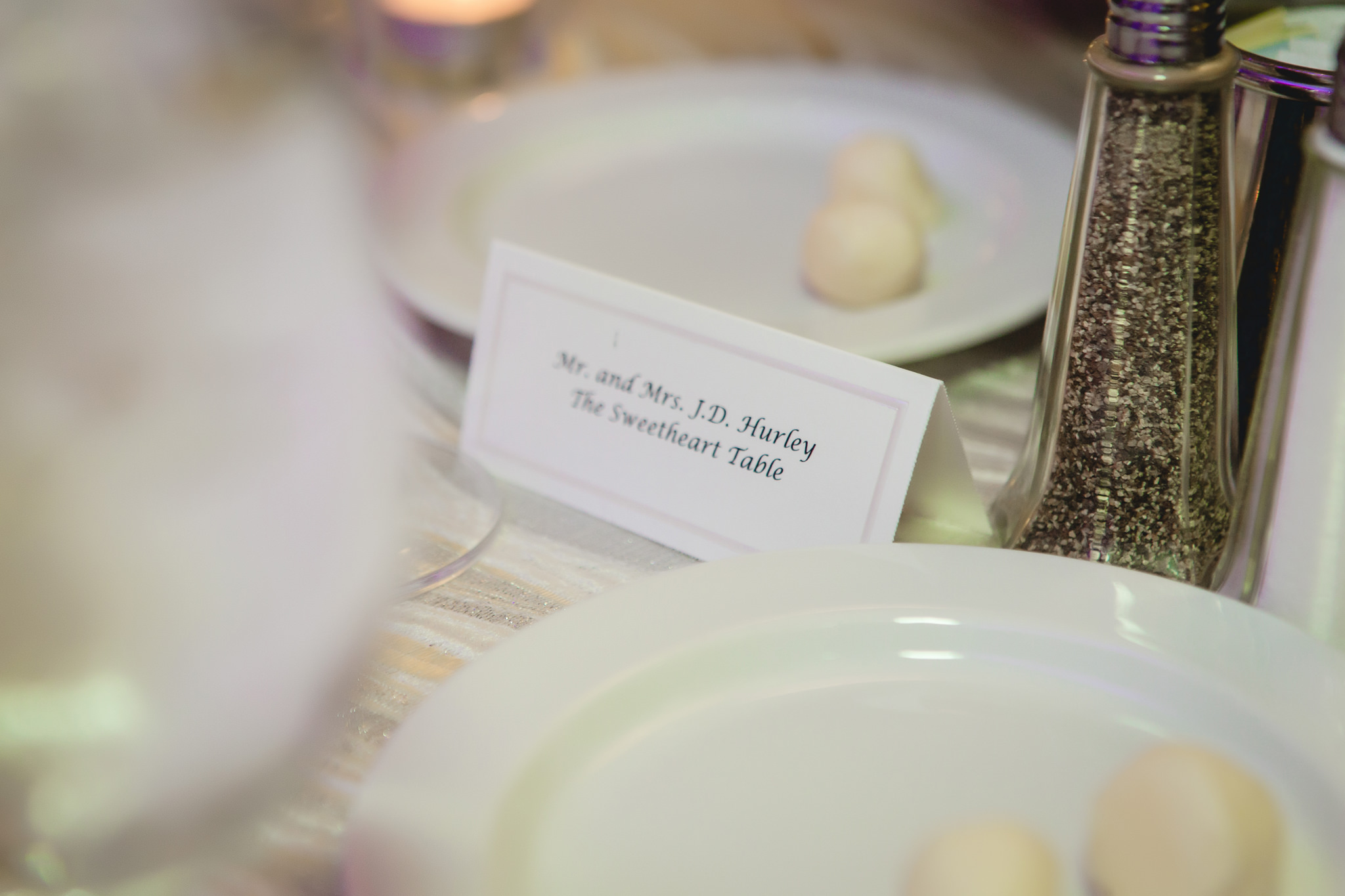 Bride and groom's place card at the Pittsburgh Airport Marriott