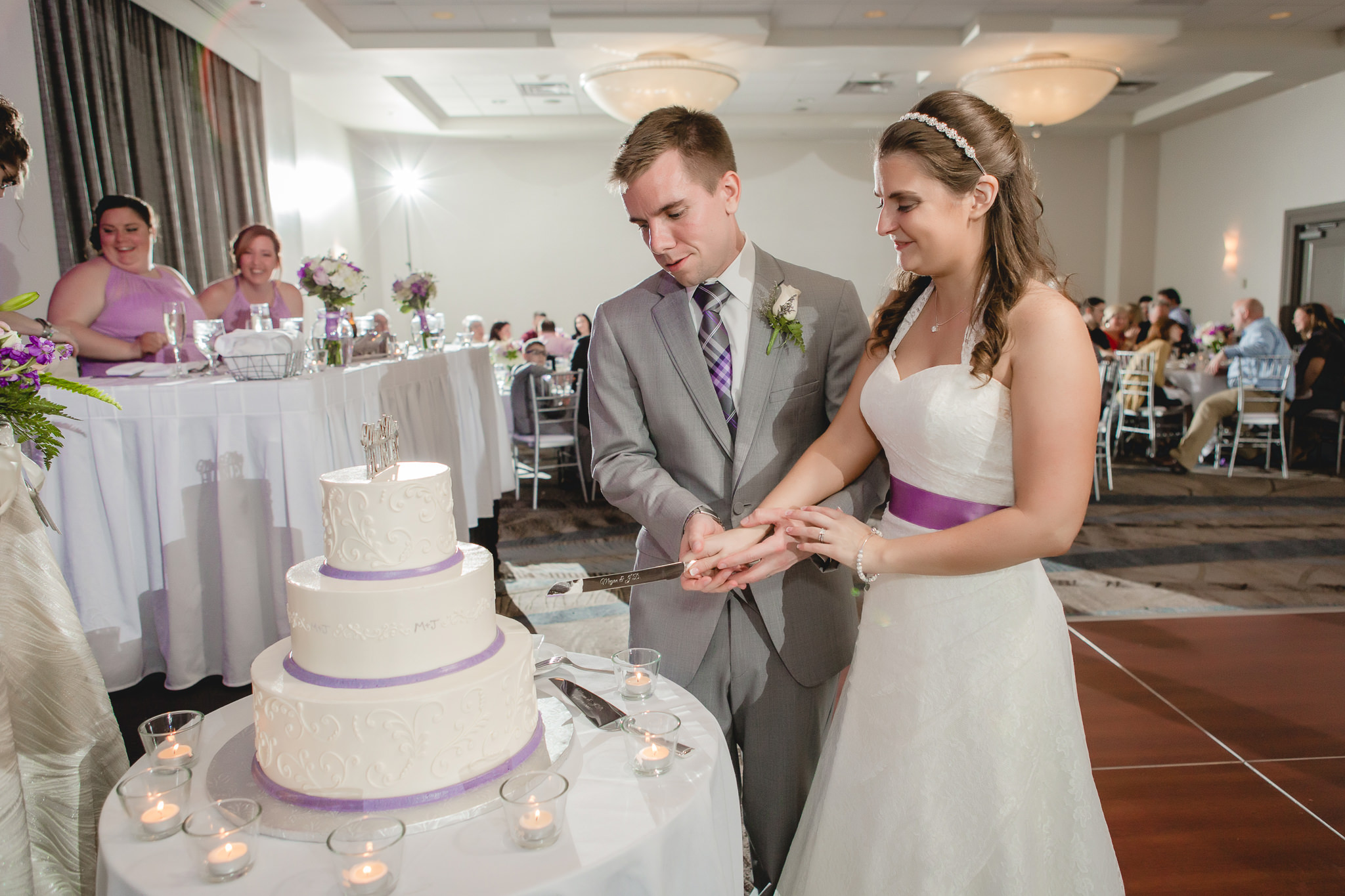 Cake cutting at a Pittsburgh Airport Marriott wedding reception