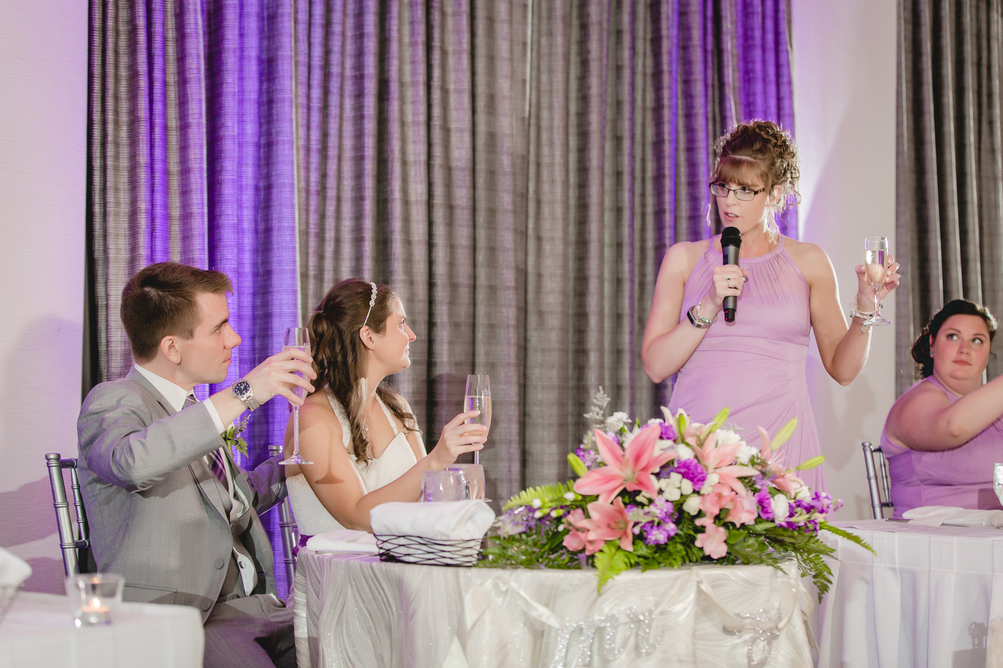 Matron of honor gives speech at Pittsburgh Airport Marriott