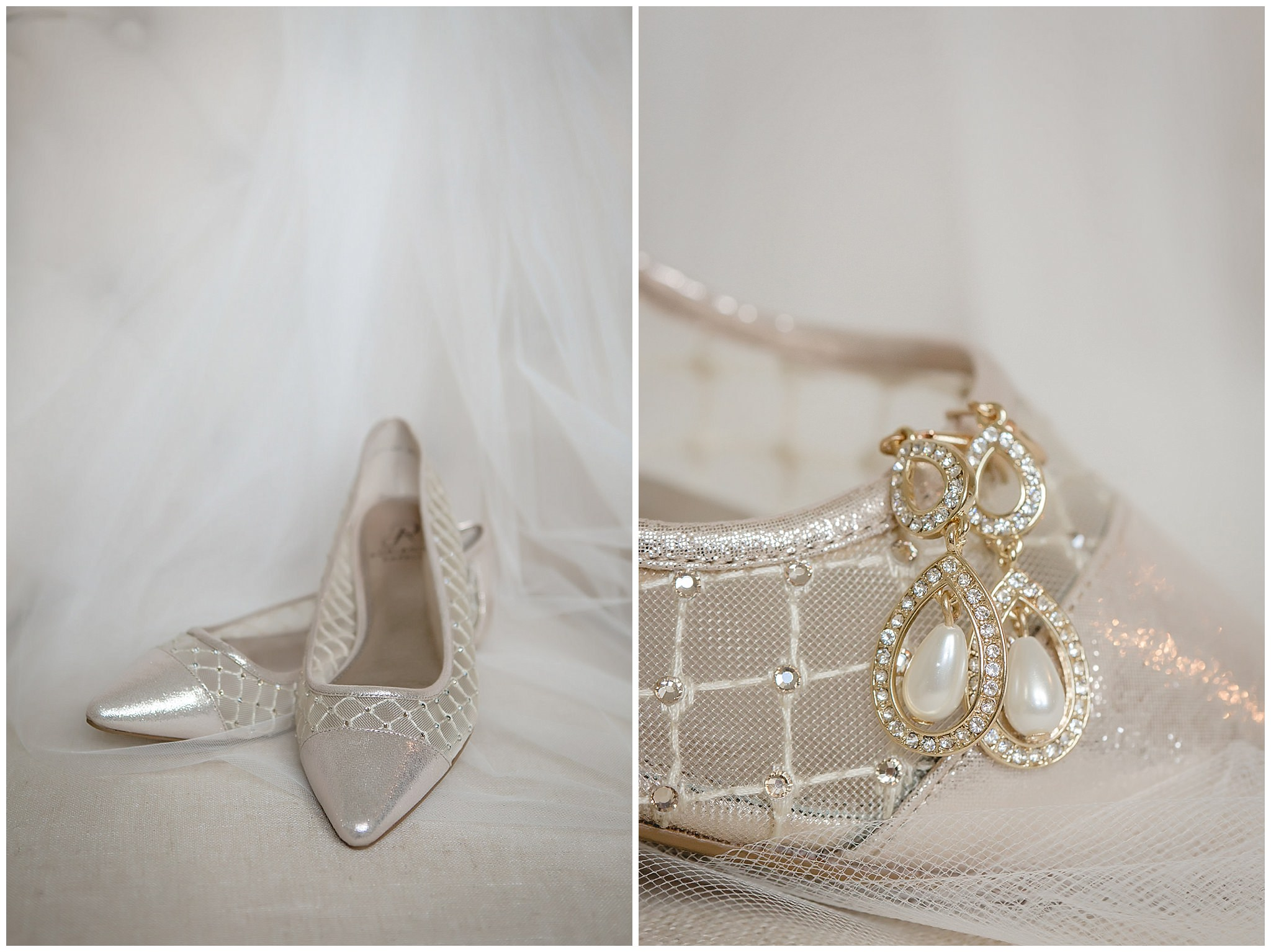 Bride's gold shoes and pearl earrings with her veil