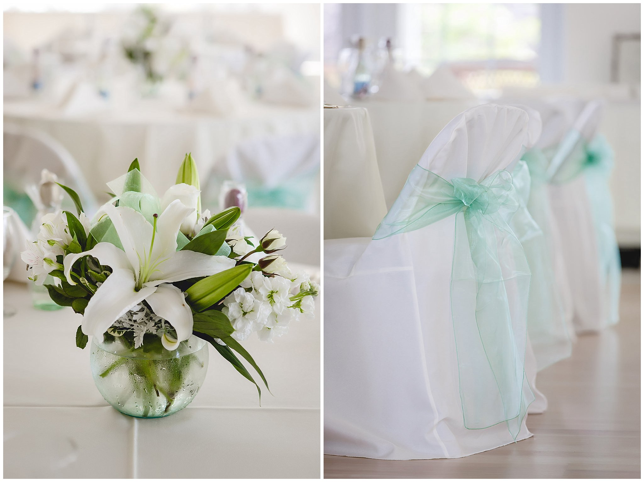 Floral centerpiece and chair covers with mint accent bows at Greystone Fields