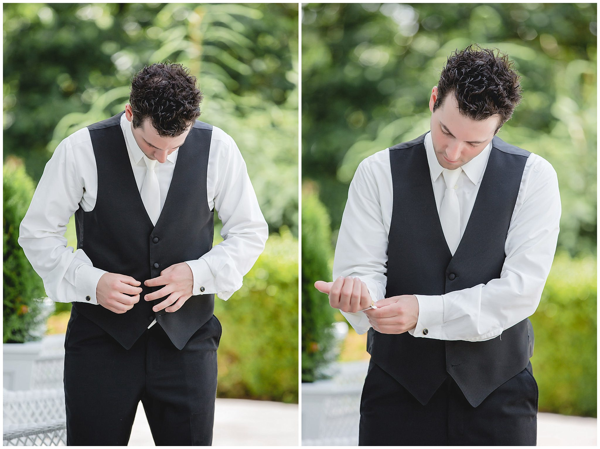 Groom gets ready for his wedding ceremony at Greystone Fields