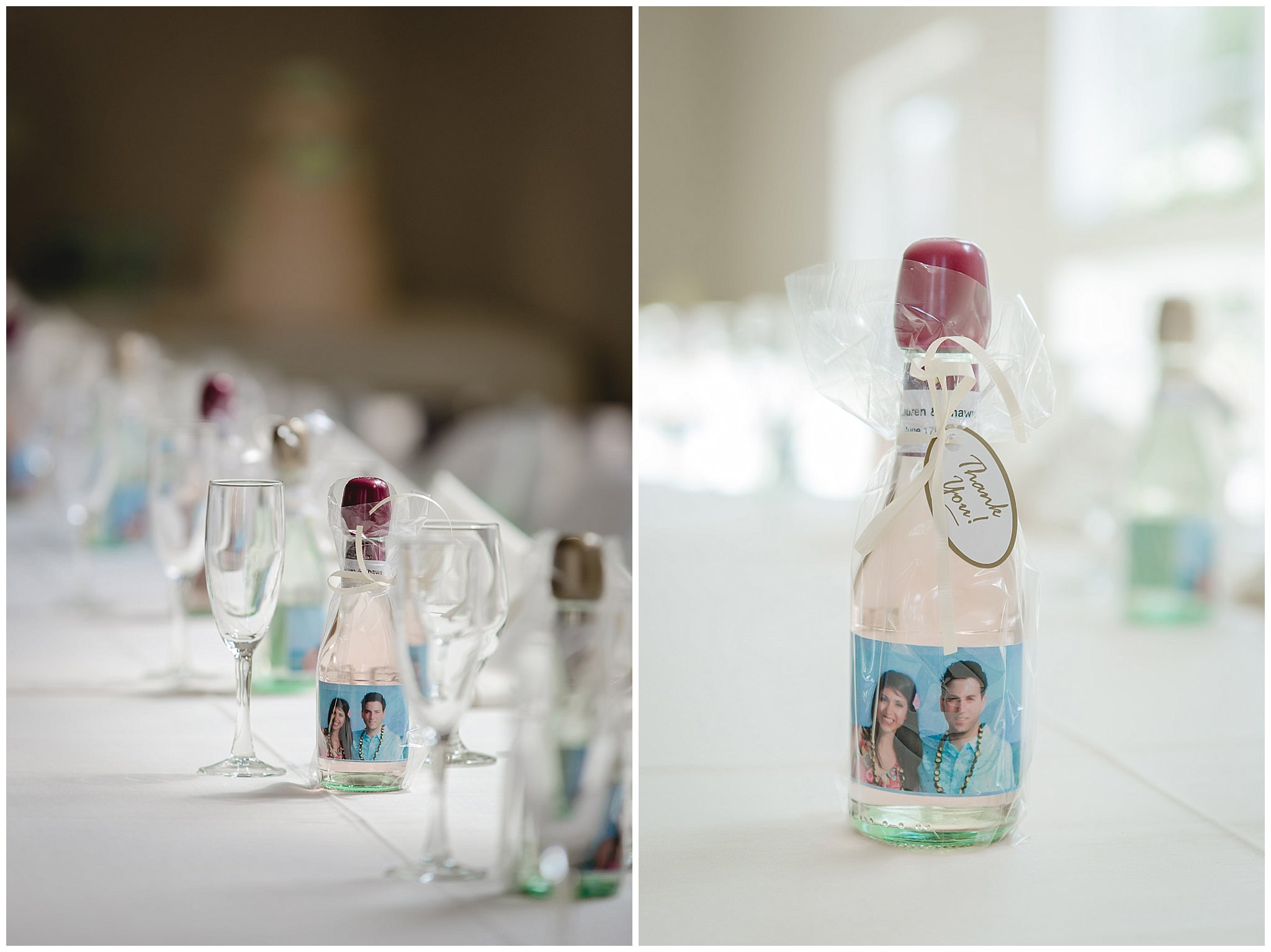 Wine bottle favors at a reception at Greystone Fields