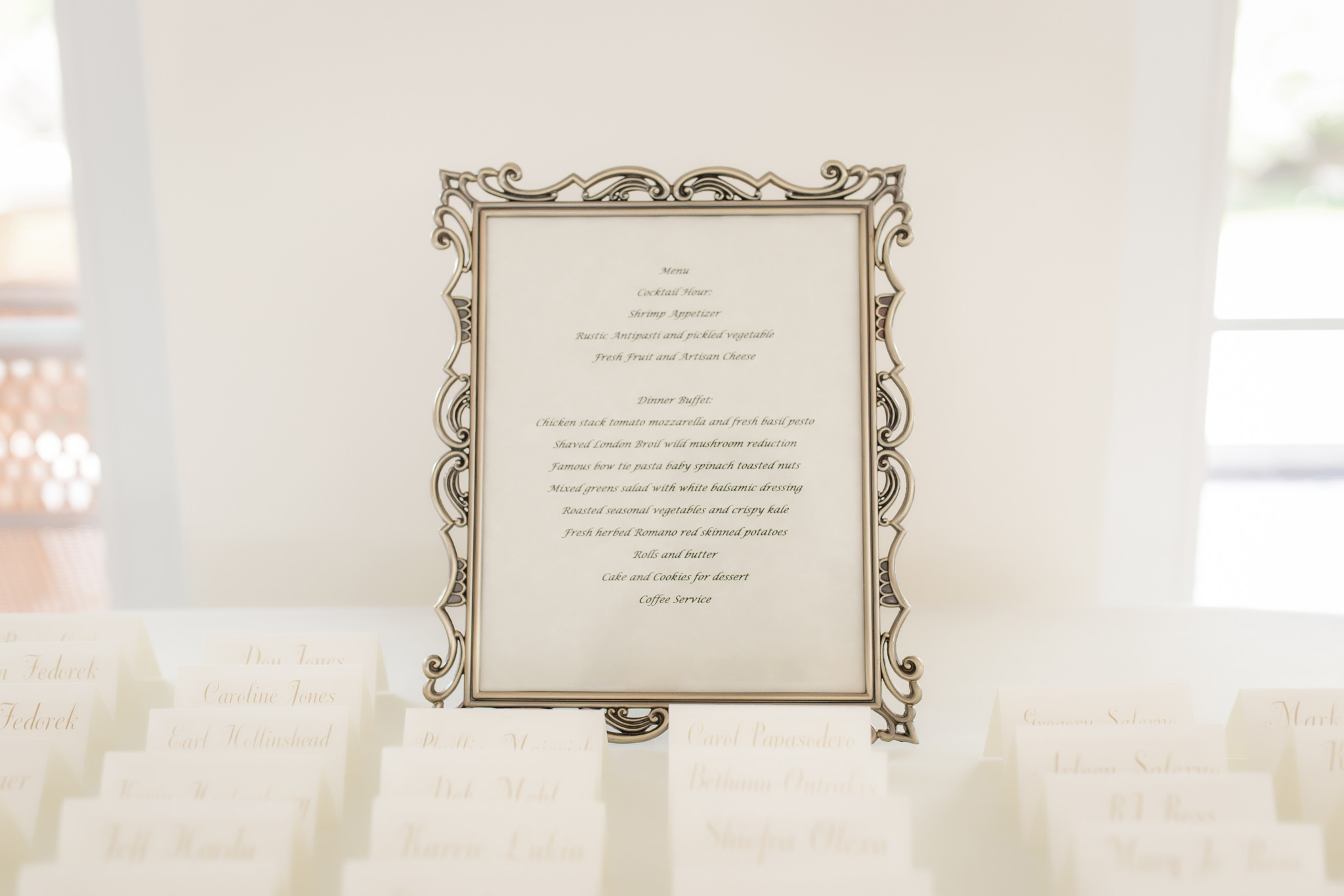 Framed list of the menu at a wedding reception at Greystone Fields