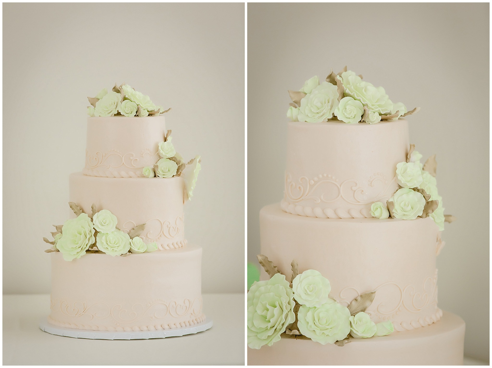 Peach and mint wedding cake by Oakmont Bakery