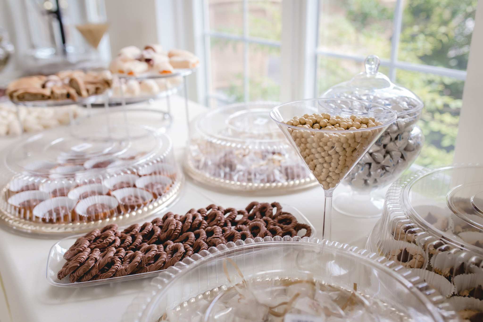Cookie and dessert table at a Greystone Fields wedding reception