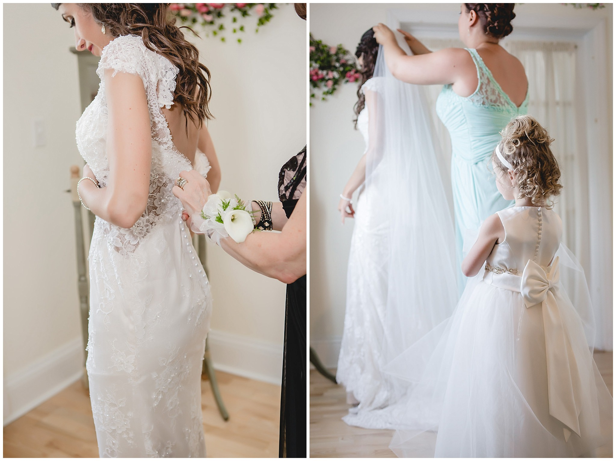 Flower girl, matron of honor, and mother of the bride help her get into her dress