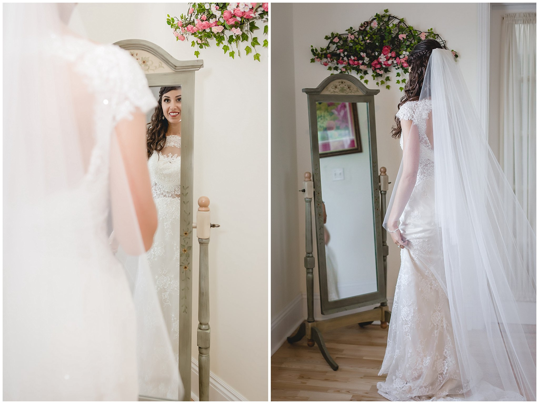 Bride looks at herself in the mirror before her wedding at Greystone Fields