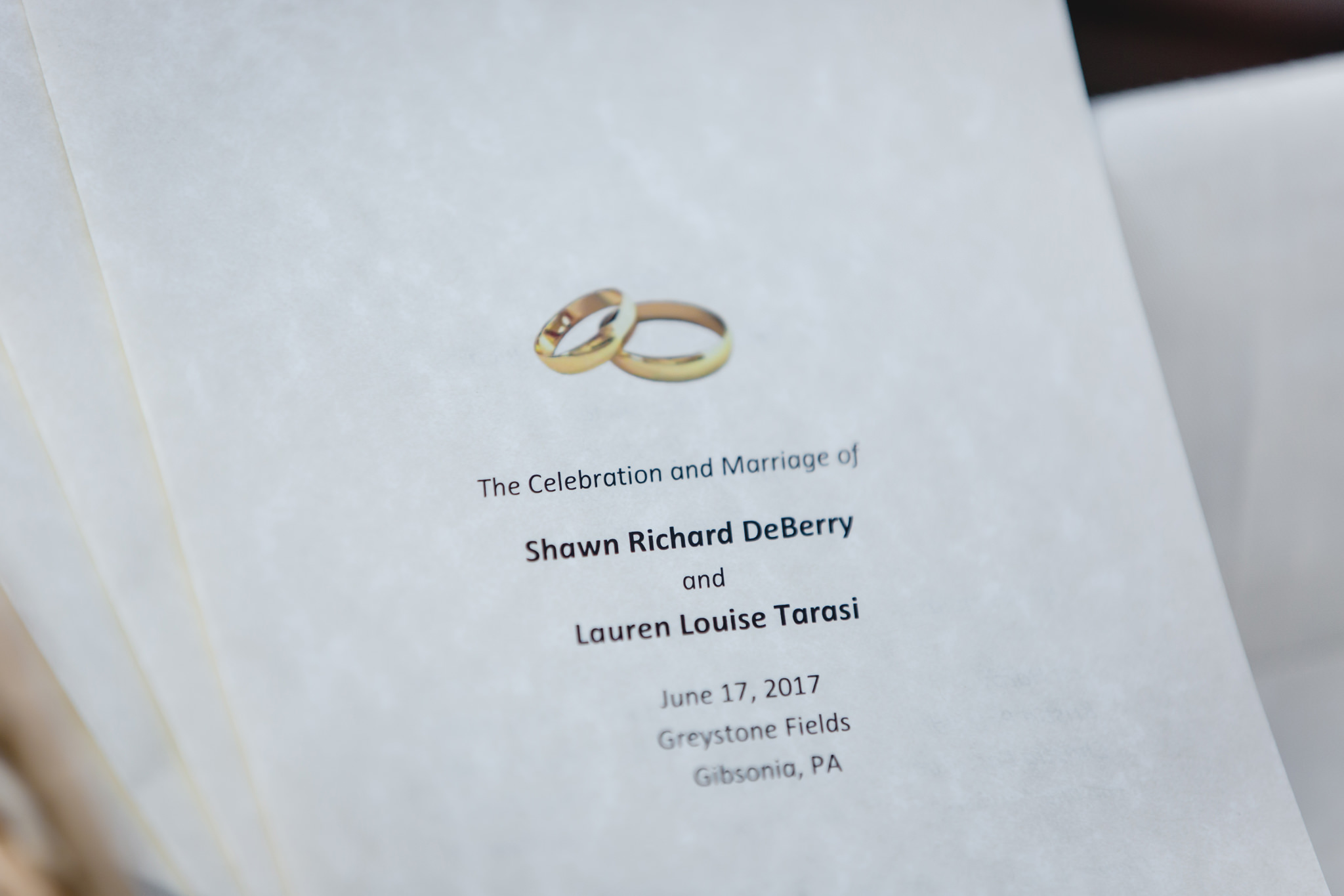Wedding programs for a June wedding at Greystone Fields