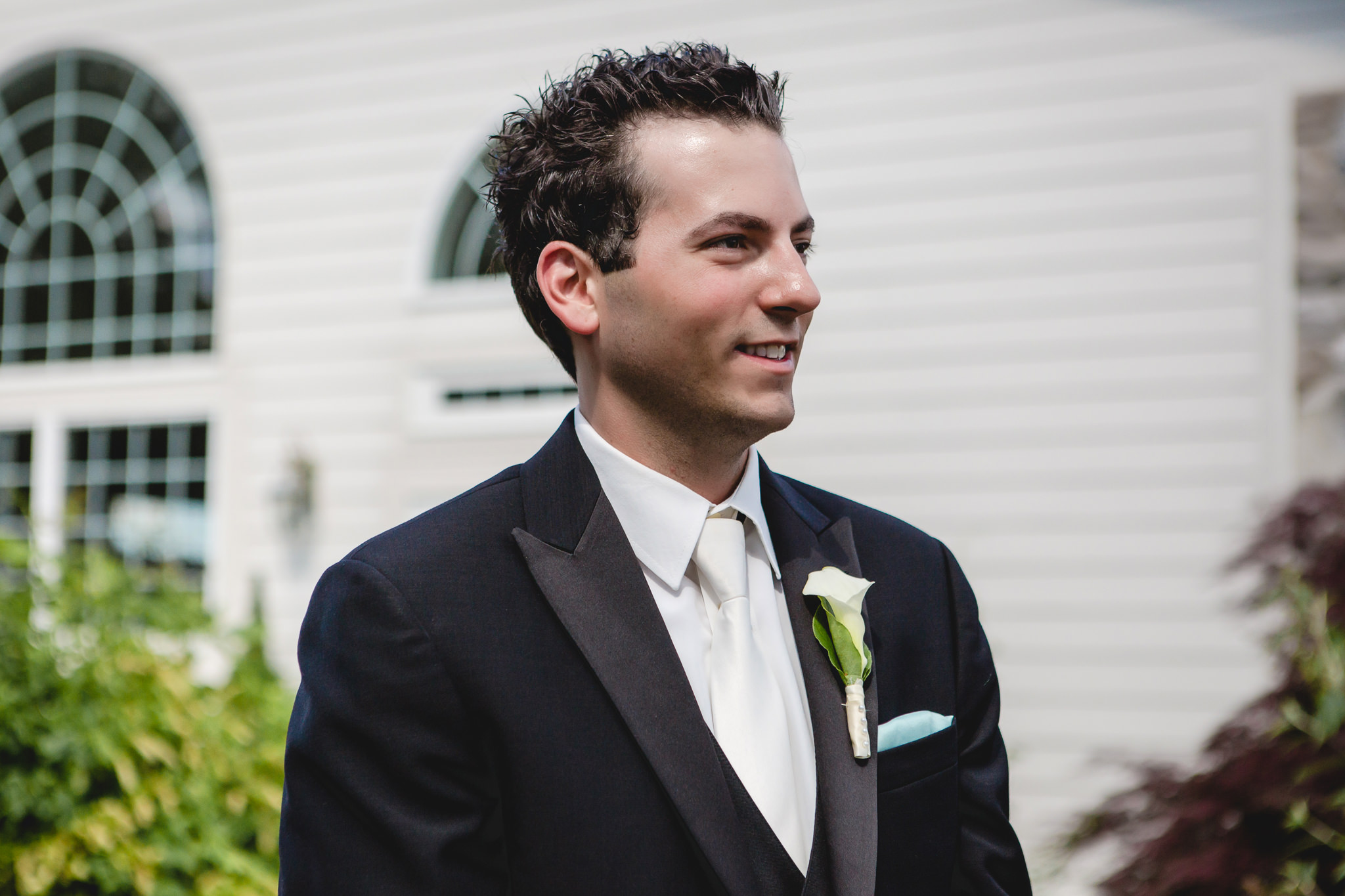 Groom sees his bride for the first time at Greystone Fields