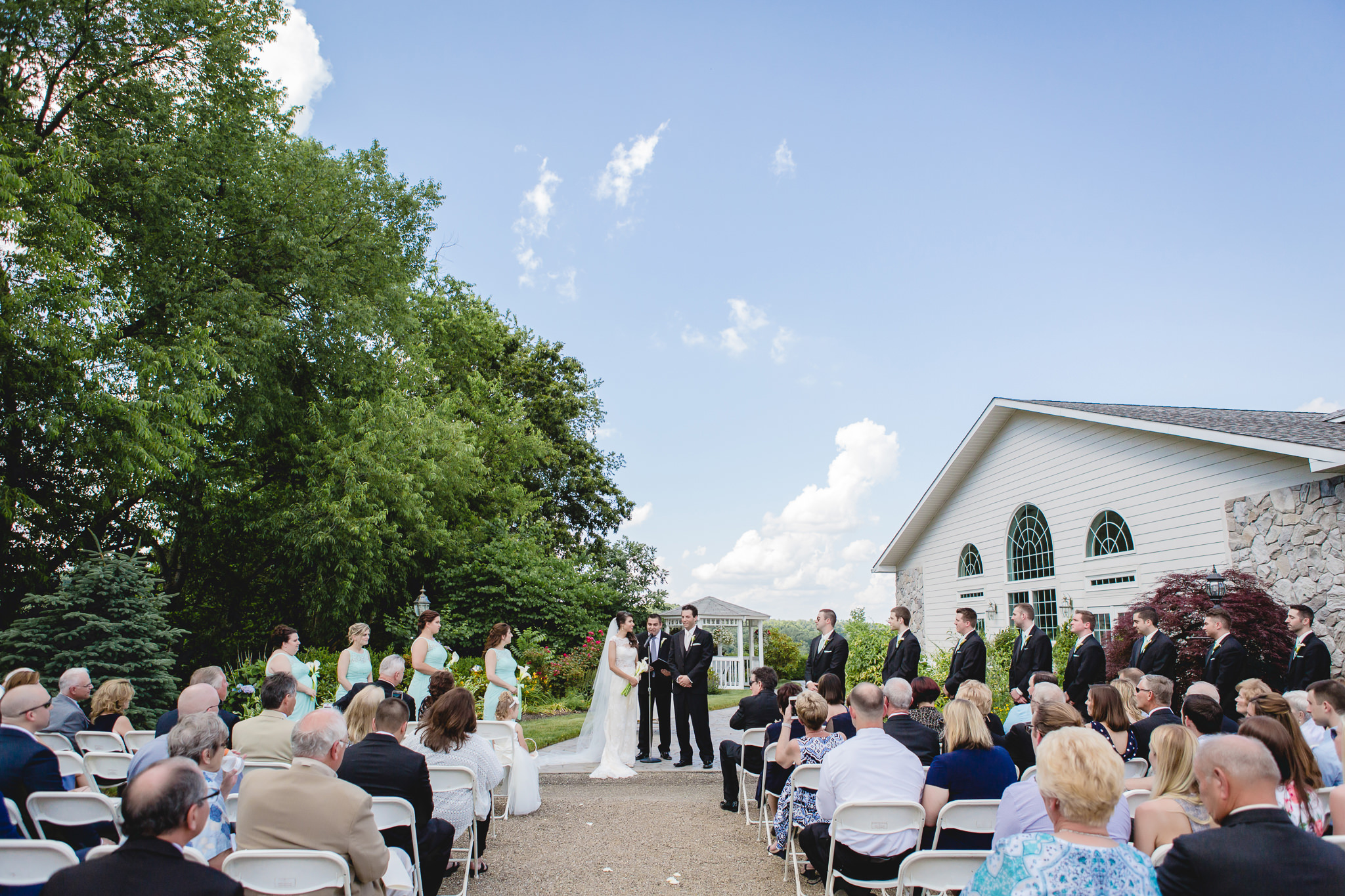 Outdoor wedding ceremony at Greystone Fields in Gibsonia, PA
