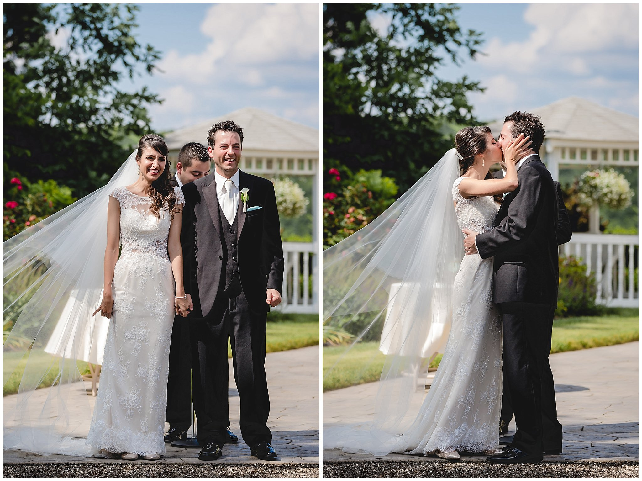 Bride and groom's first kiss during their wedding ceremony