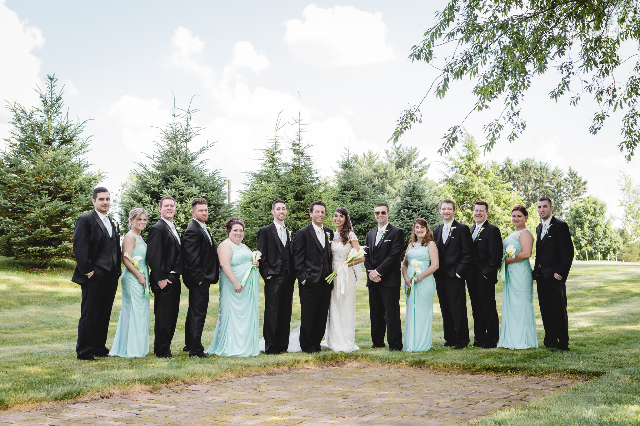 Bridal party poses for a photo at Greystone Fields