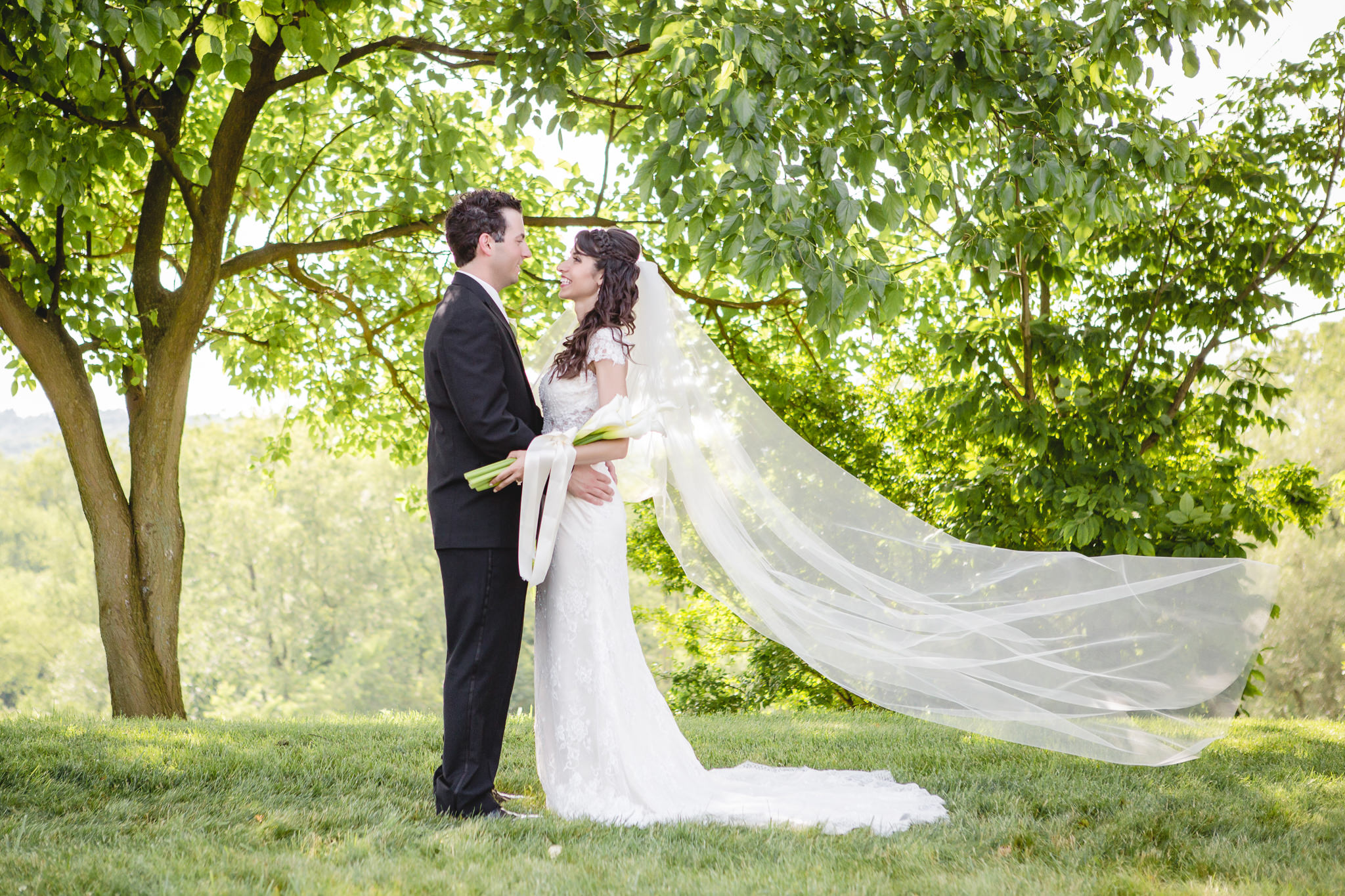 Bride's cathedral veil blowing in the wind at Greystone Fields