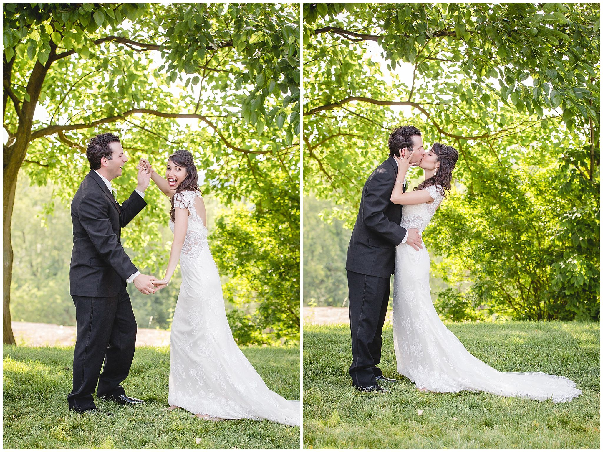 Bride and groom dance and kiss at Greystone Fields