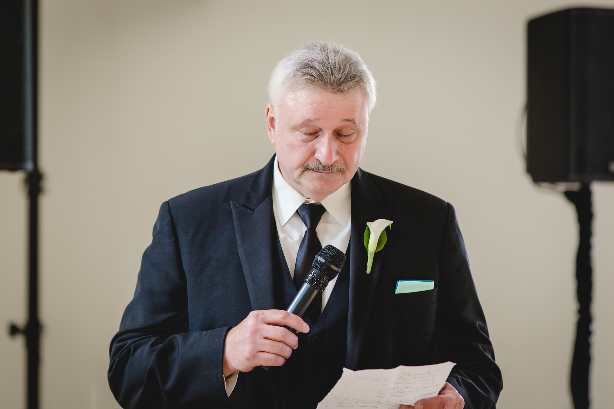 Father of the bride gives a speech during a Greystone Fields wedding reception