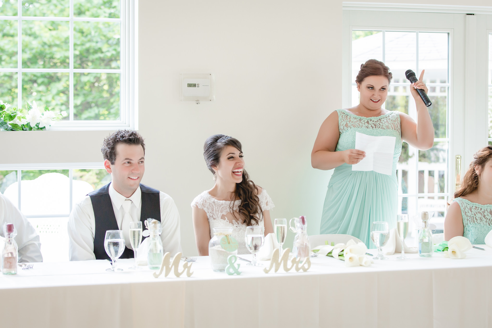 Matron of honor gives a toast at a Greystone Fields wedding reception