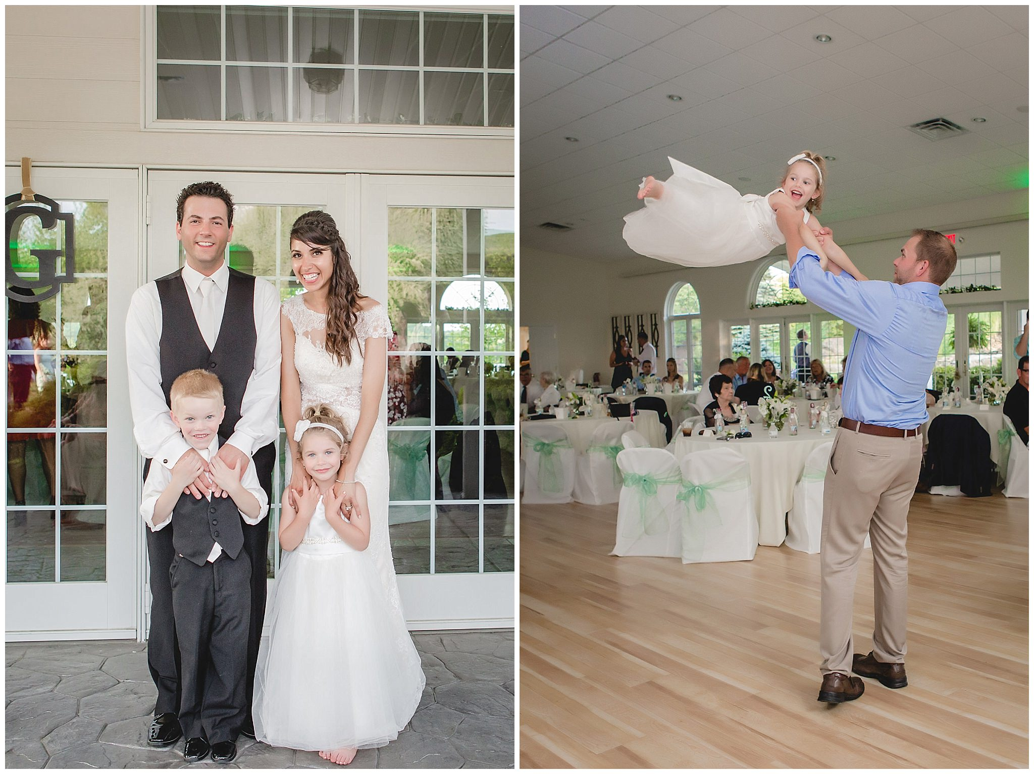 Bride and groom with the flower girl and ring bearer at Greystone Fields