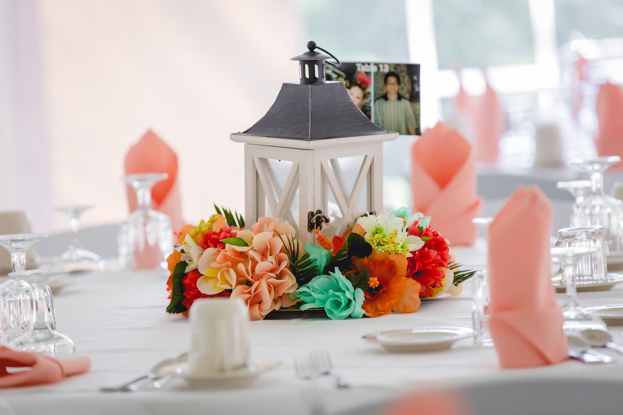 Lantern centerpiece at a Linden Hall wedding reception