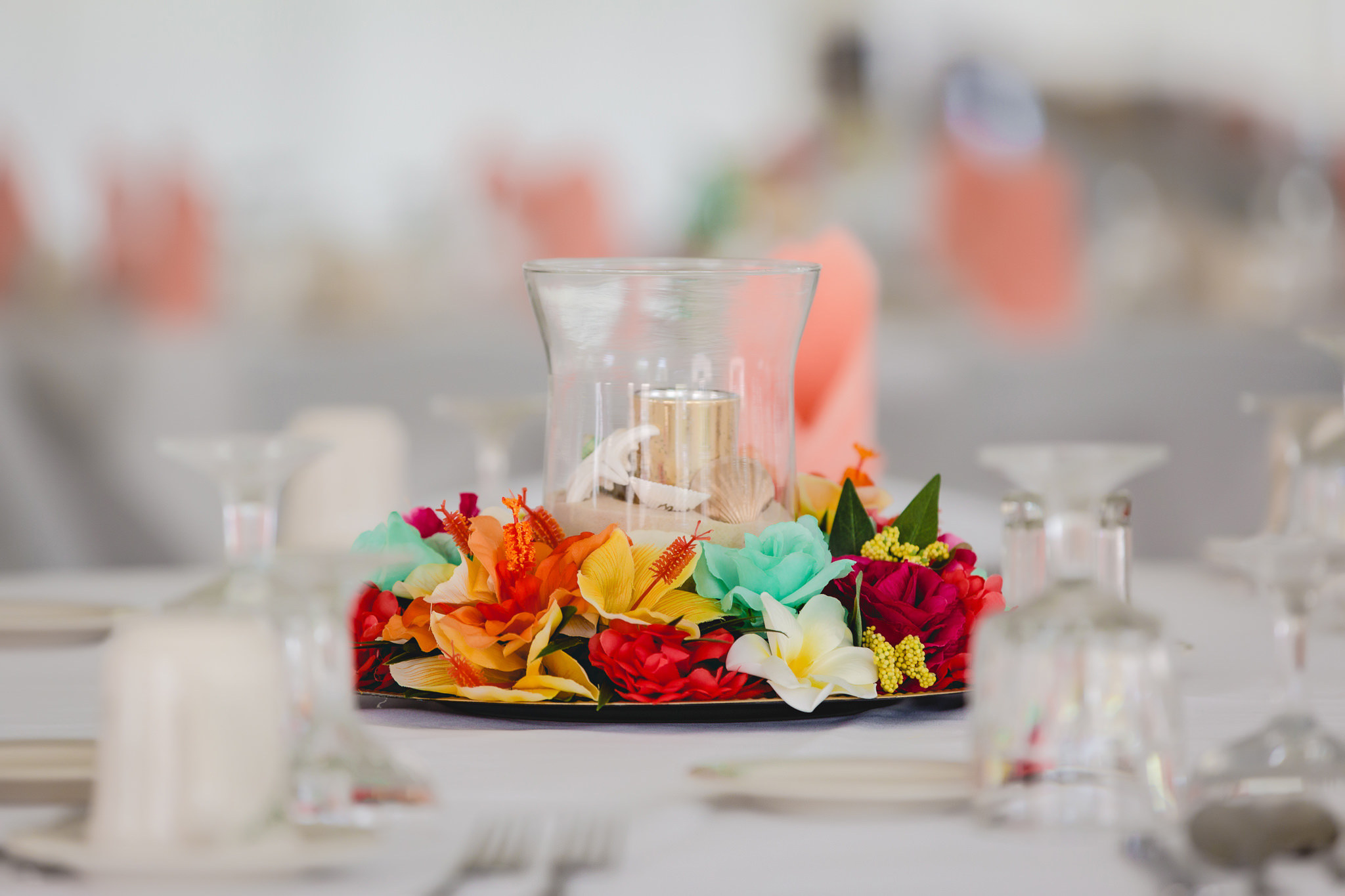 Beach-themed candle centerpiece at a wedding reception at Linden Hall