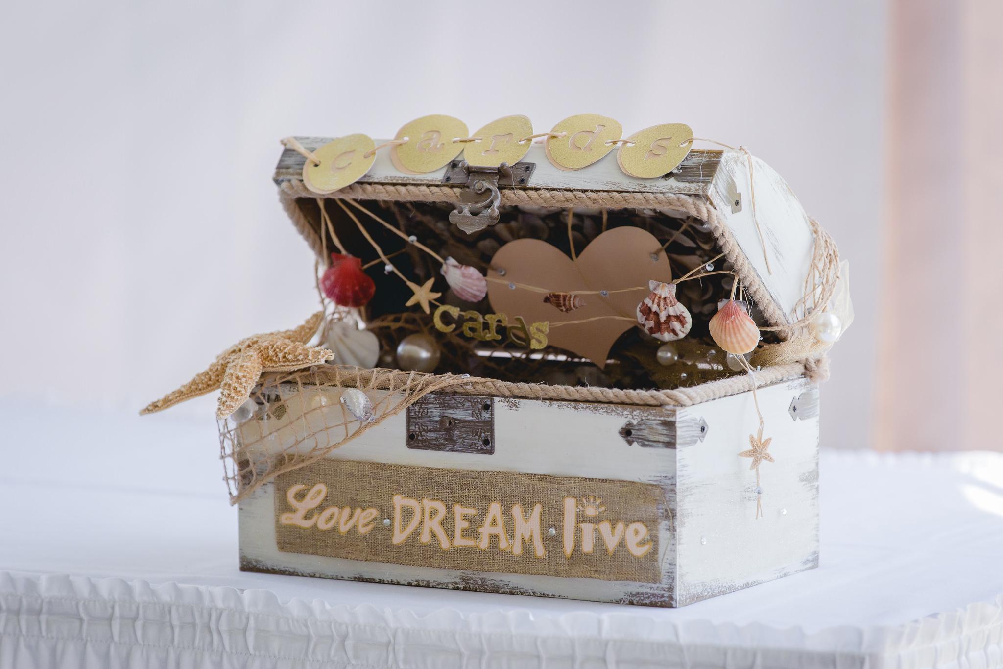 Beach-themed card box at a Linden Hall wedding reception