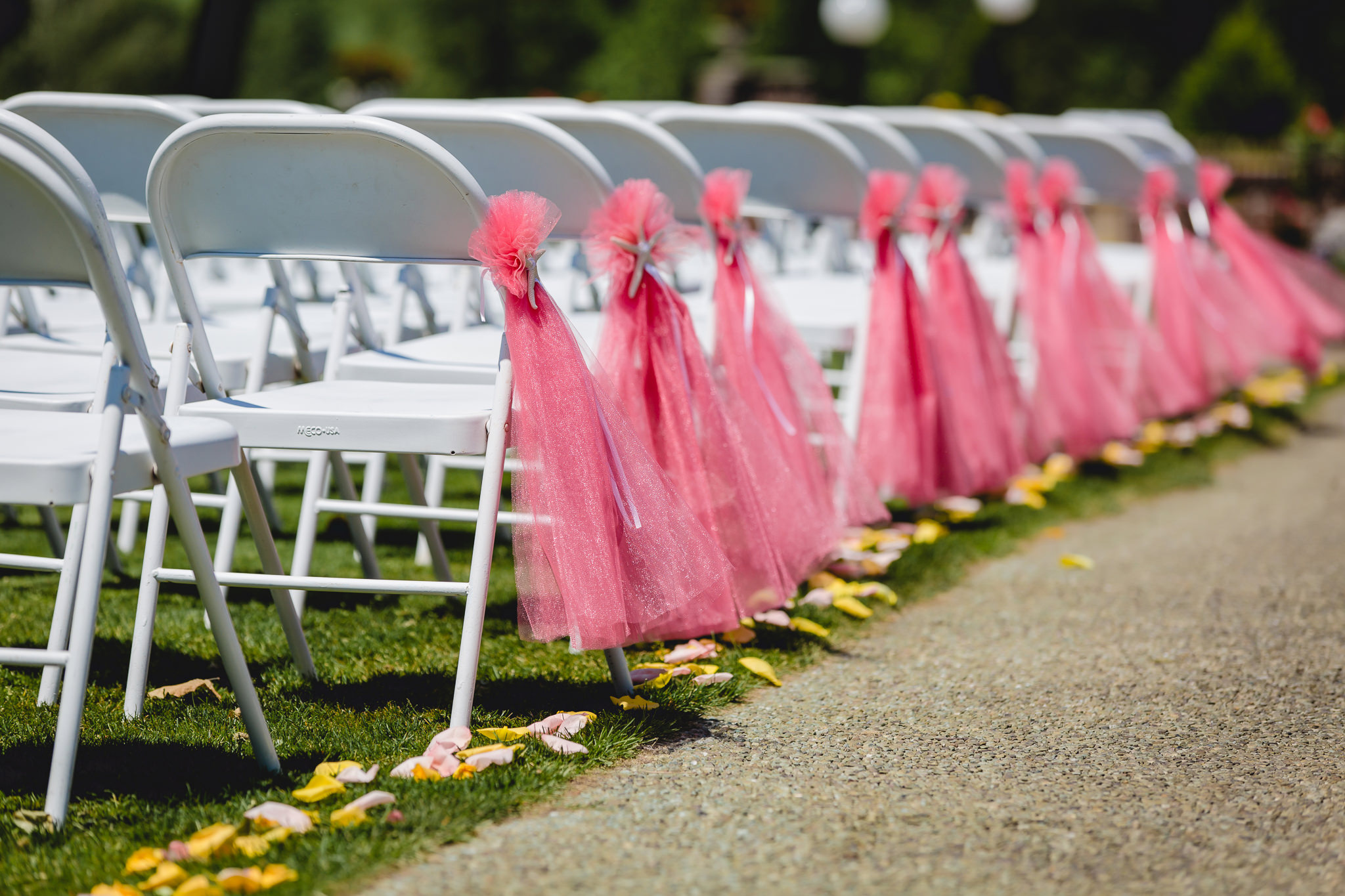 Chairs decorated for a wedding ceremony at Linden Hall