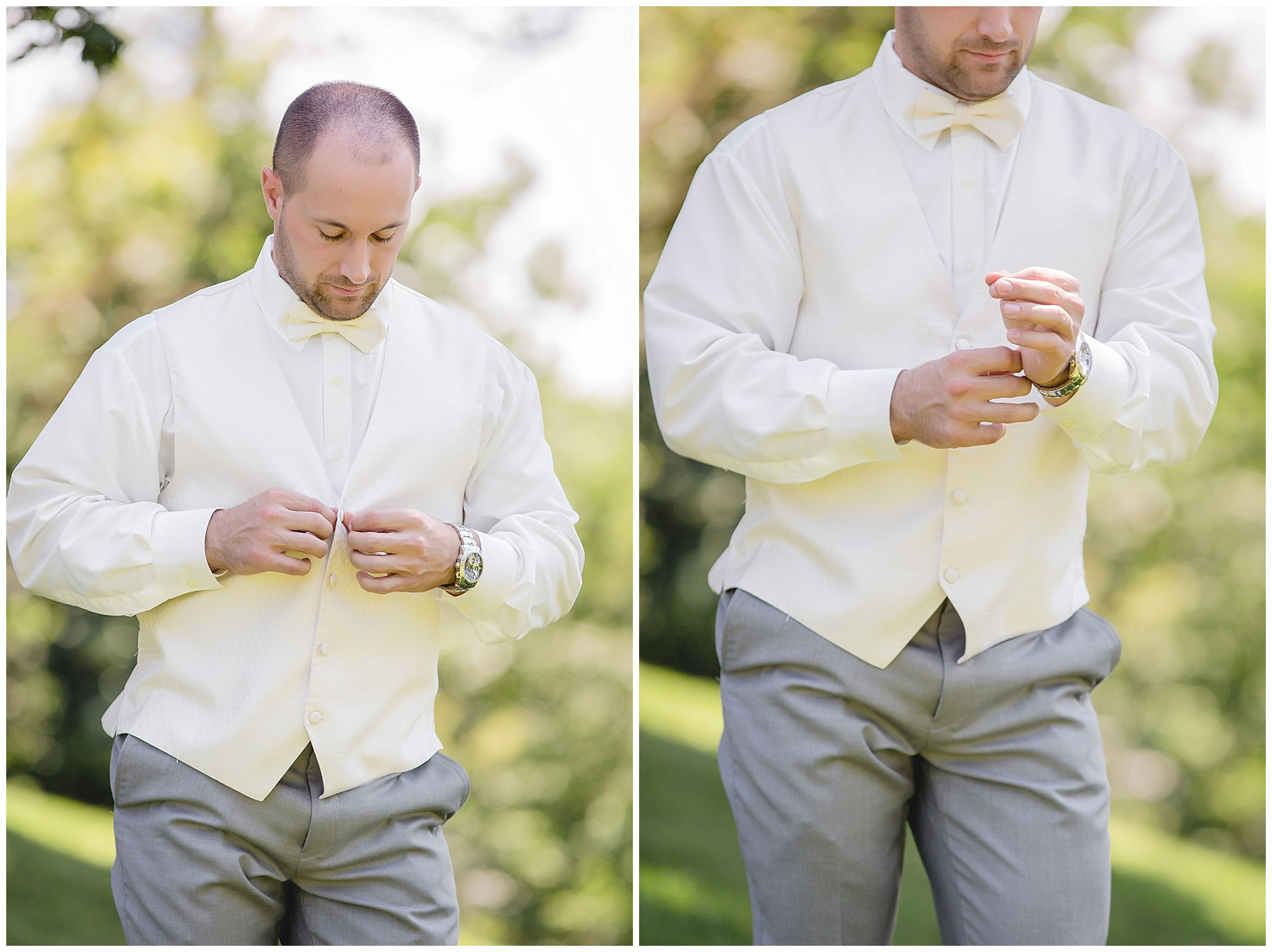 Groom getting ready before his wedding at Linden Hall