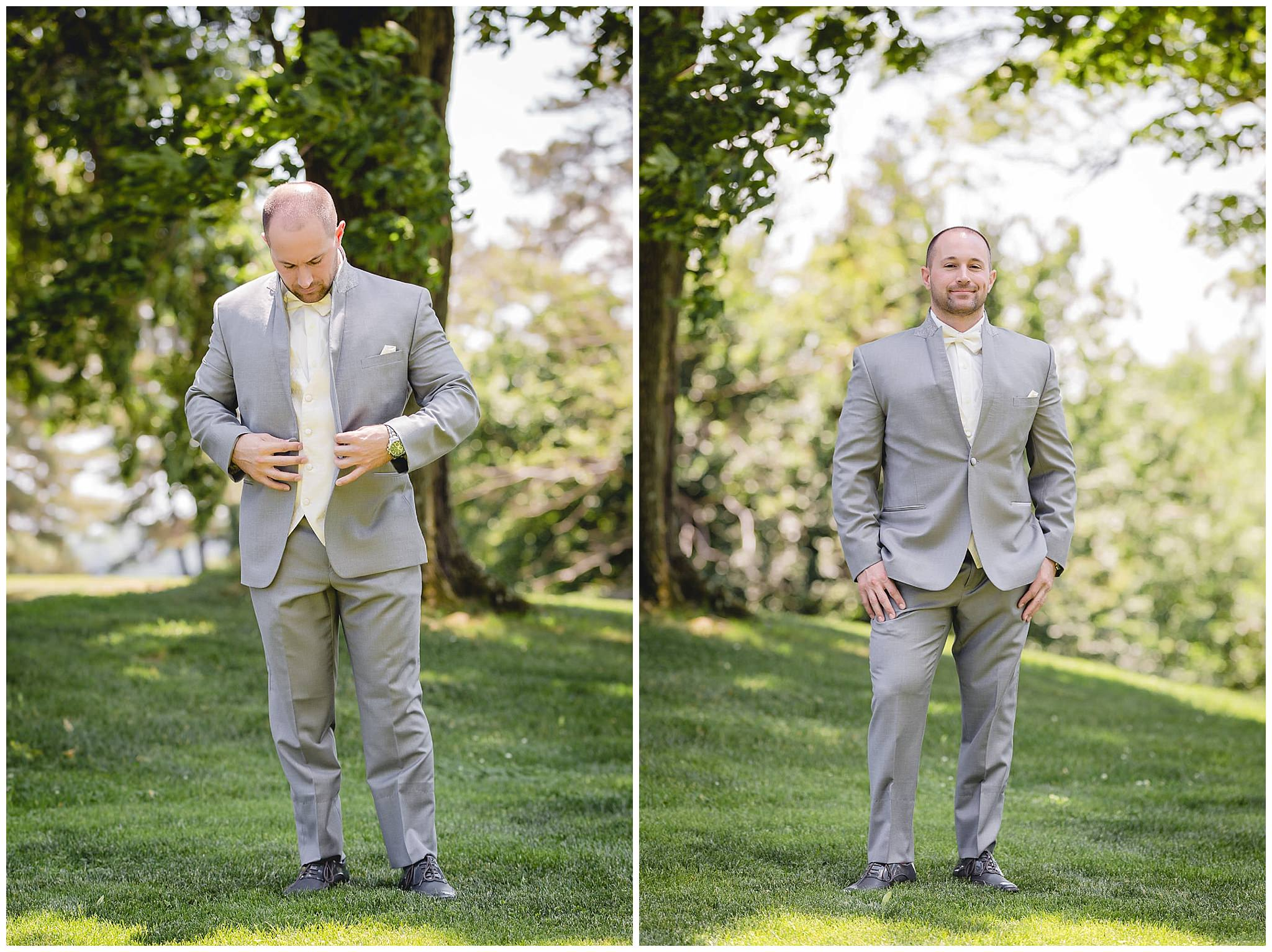 Groom puts on his jacket and poses for a portrait
