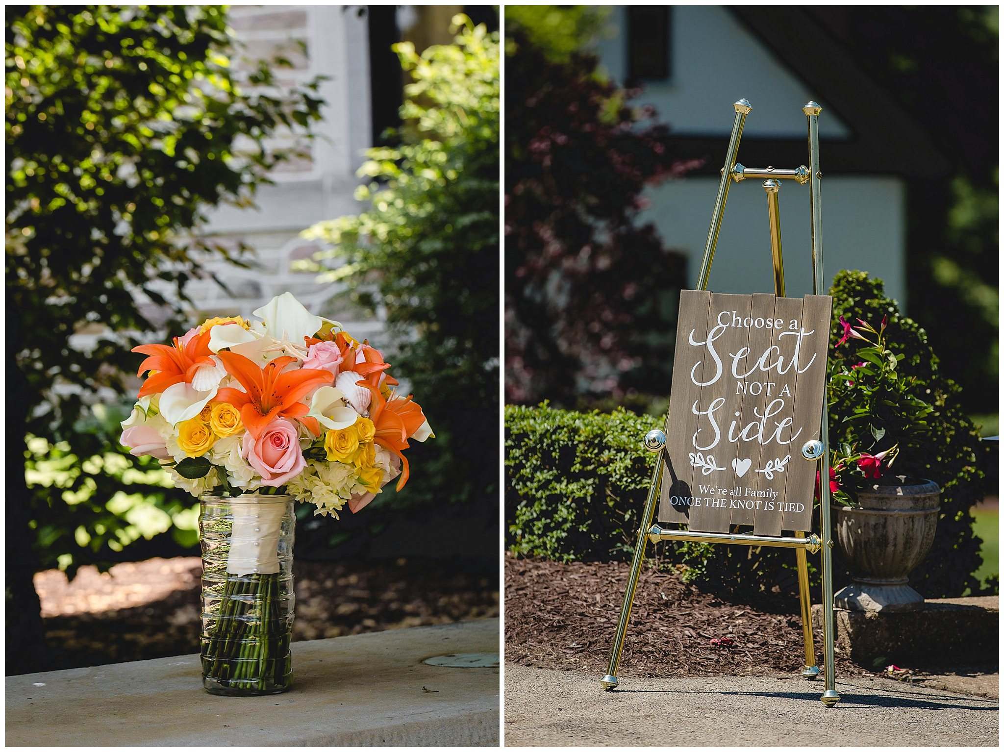 Bridal bouquet and ceremony sign at Linden Hall