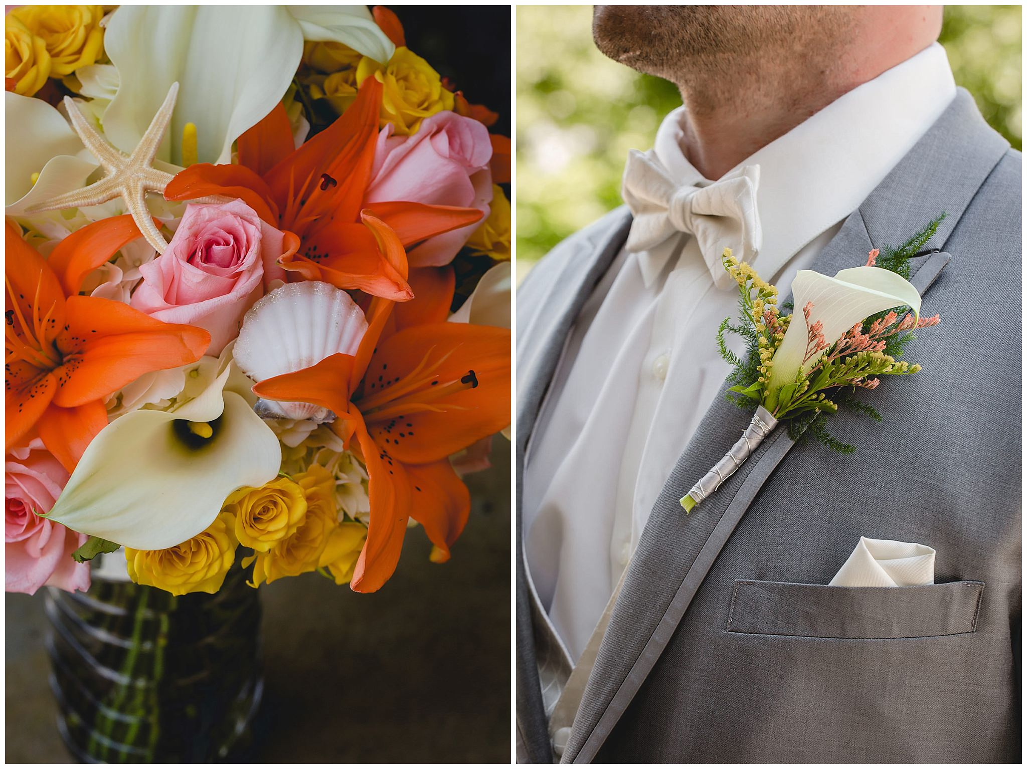 Bride's bouquet and groom's boutonniere