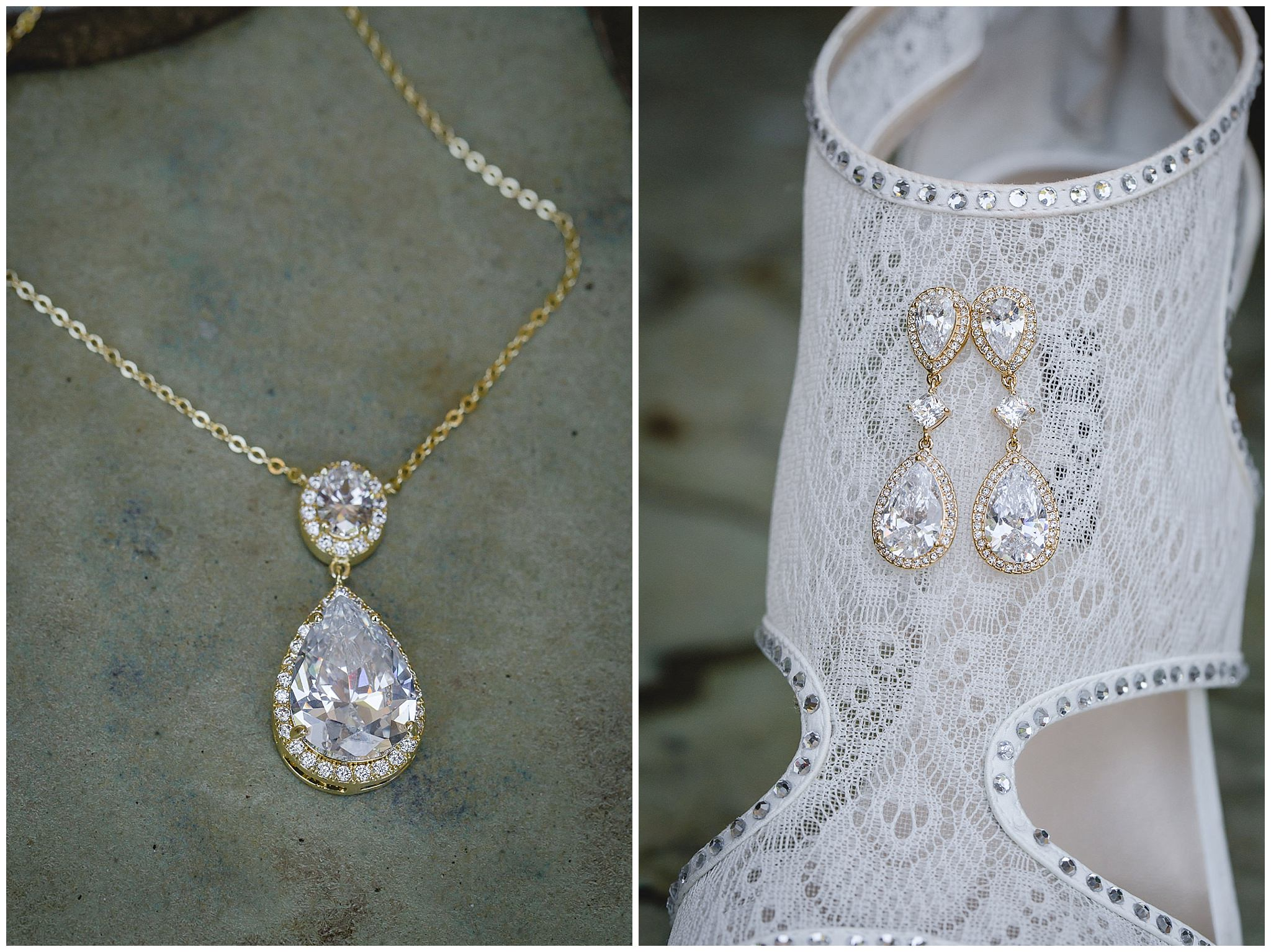 Bride's diamond necklace and earrings