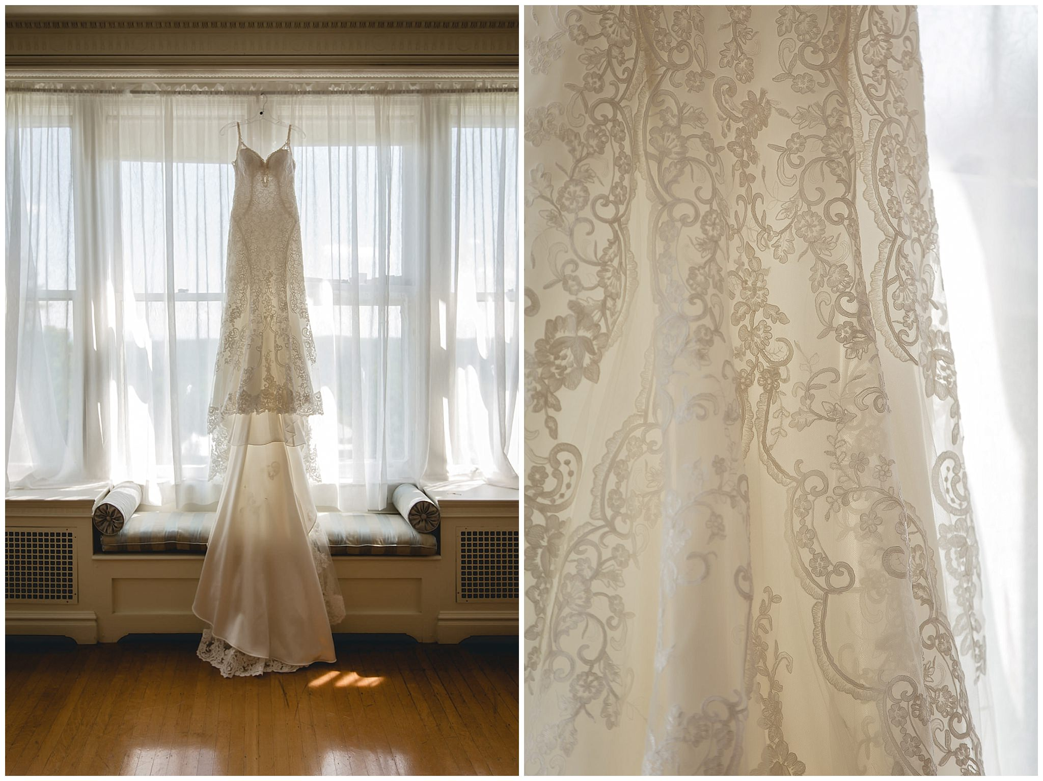 a3983bf2c66 Bride s lace wedding dress hangs in the window at Linden Hall