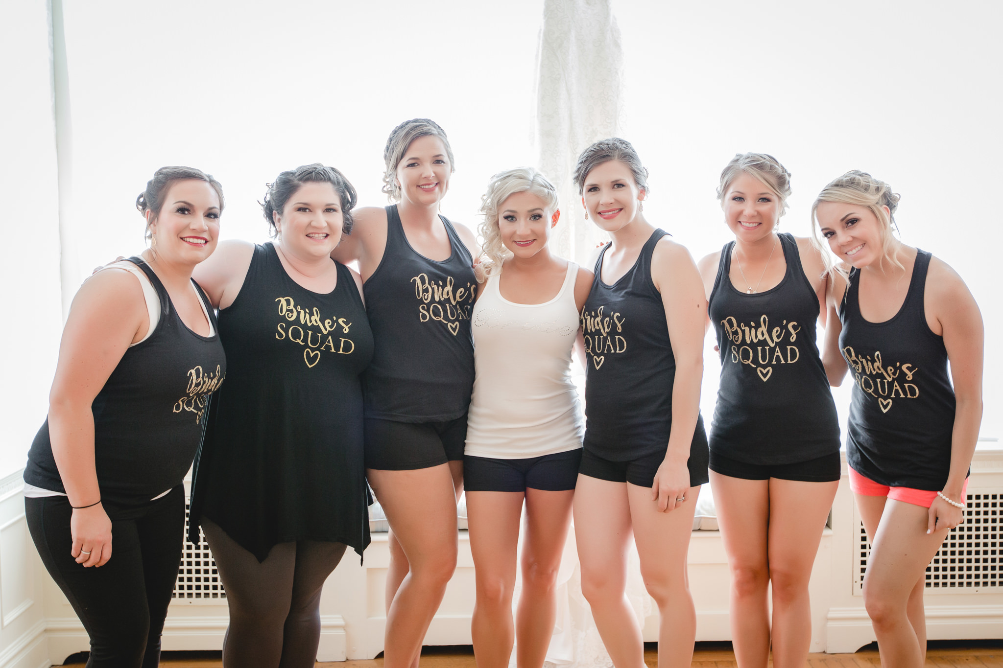 Bride and bridesmaids in custom tank tops at Linden Hall