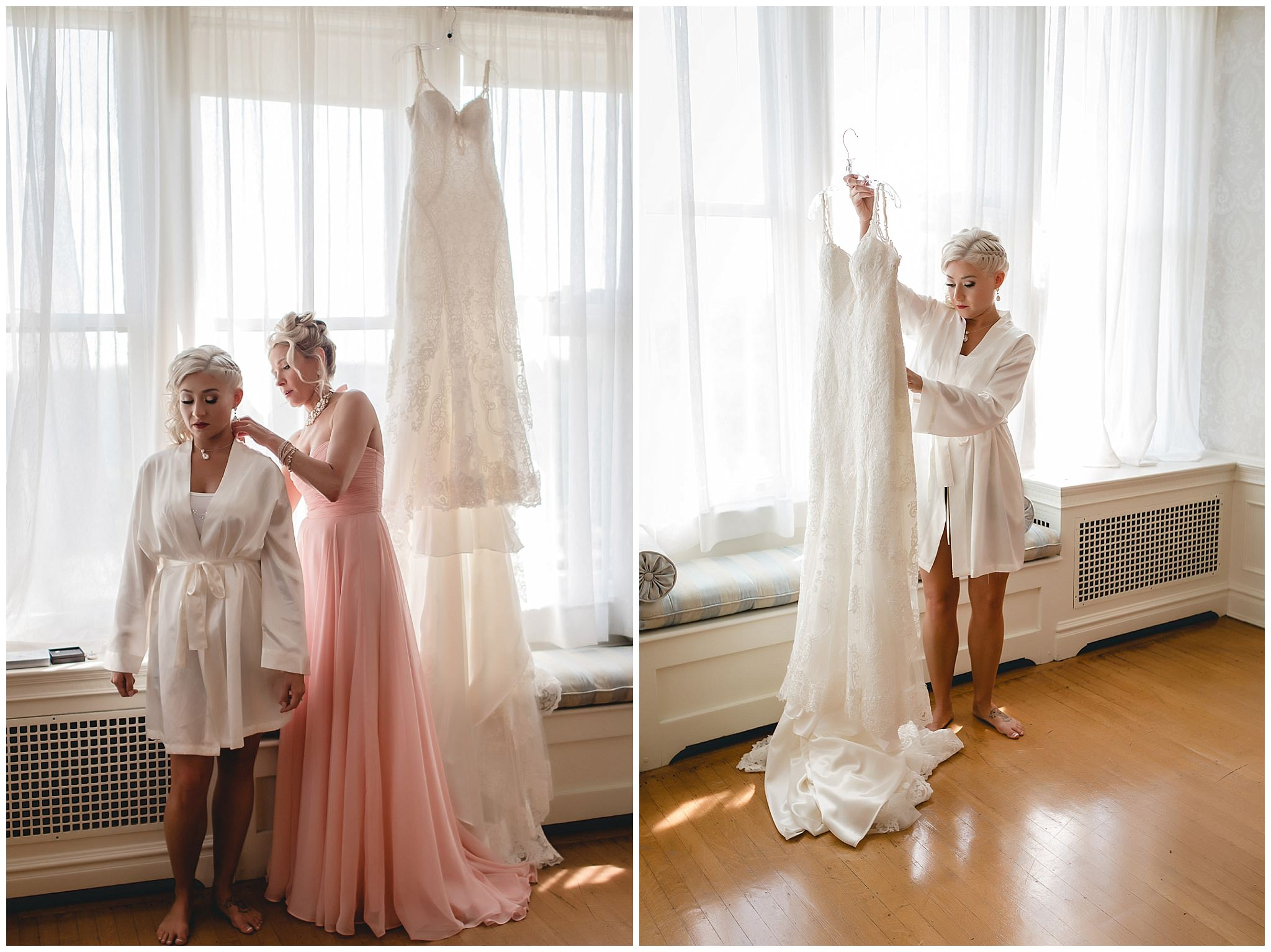 Bride's mother helps her get ready at Linden Hall mansion