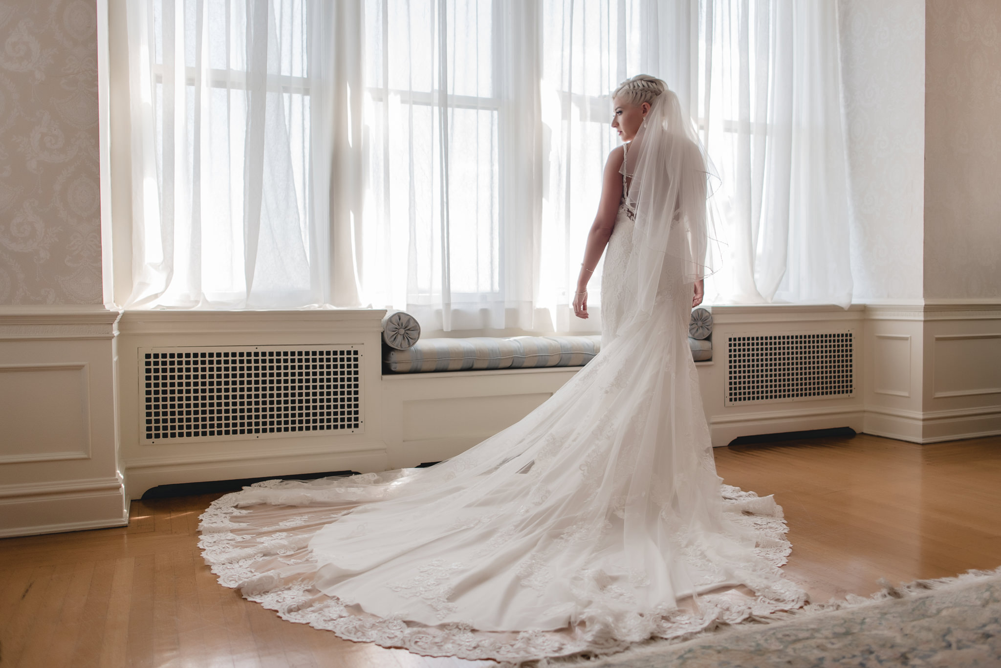 Full length photo of bride's train spread out on the floor
