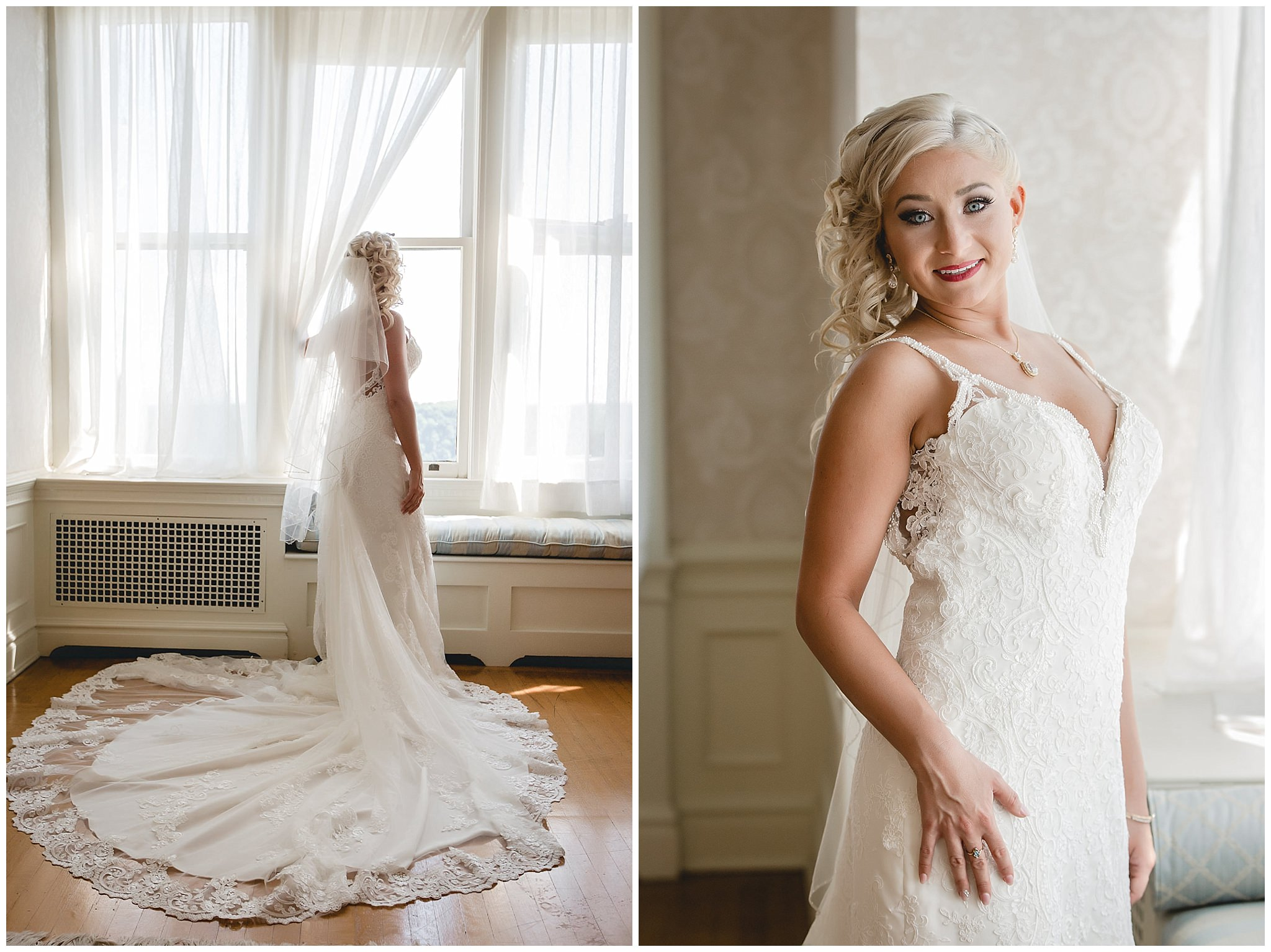 Bride poses for a portrait by a window in Linden Hall mansion