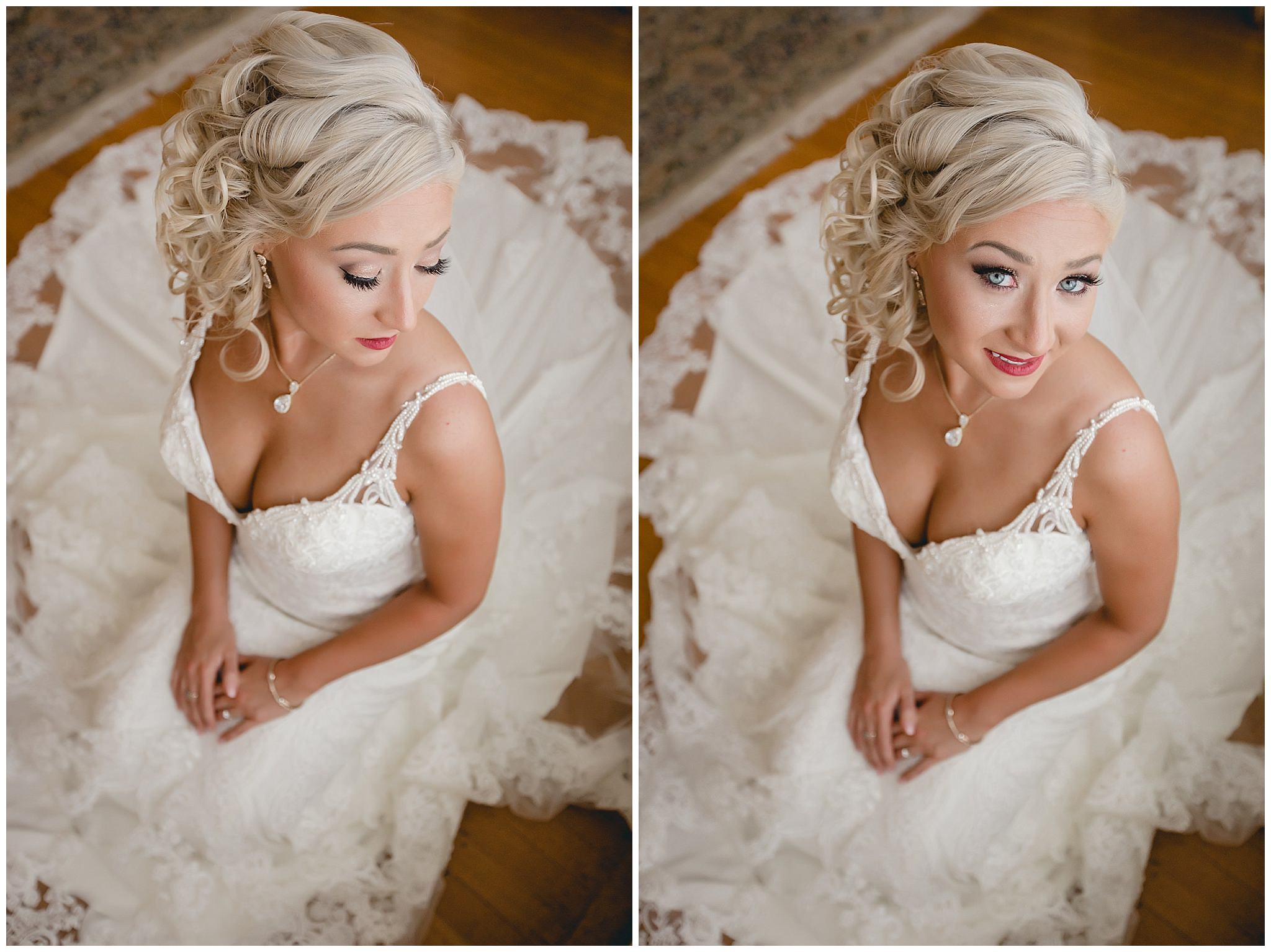 Bridal portrait by window light at Linden Hall