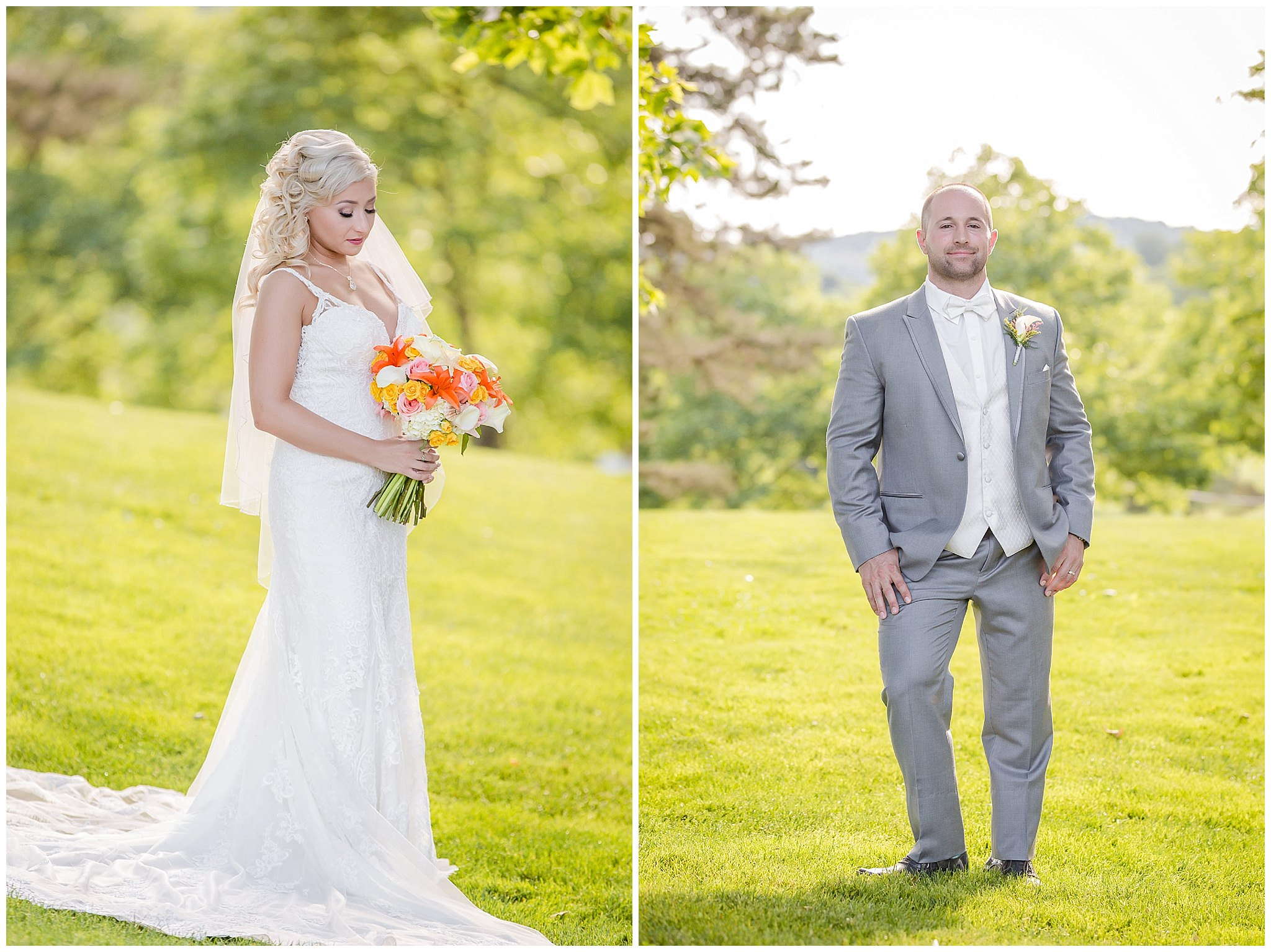 Bride and groom portraits in the grass