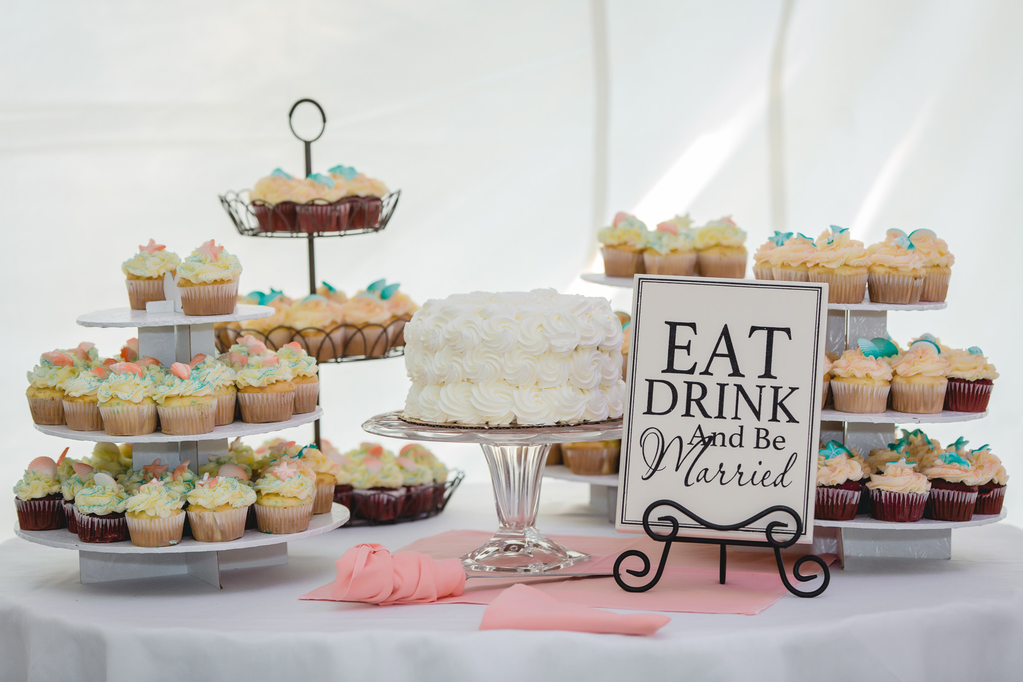 Cake table at a wedding reception