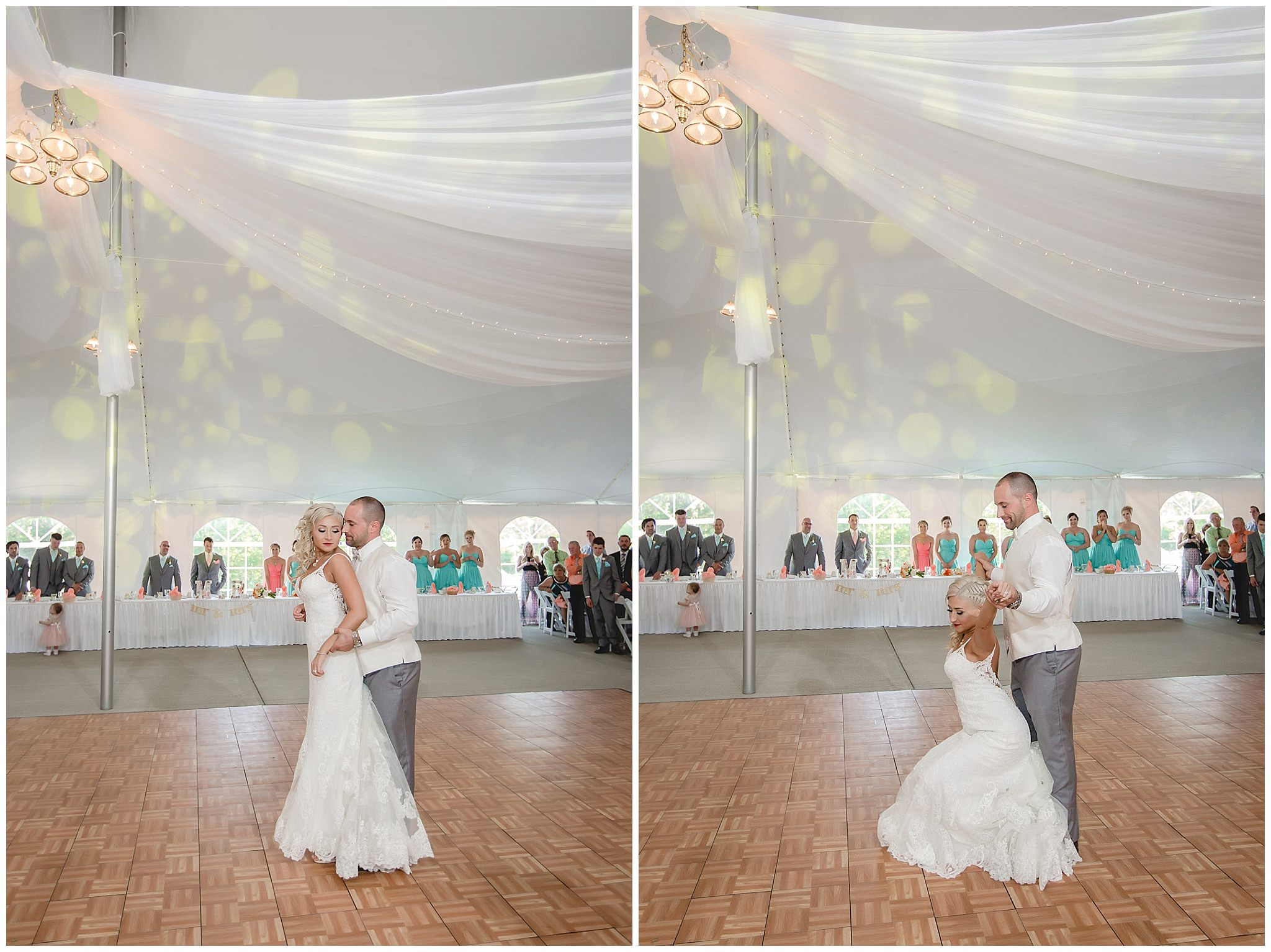 Bride and groom perform a salsa dance at their reception