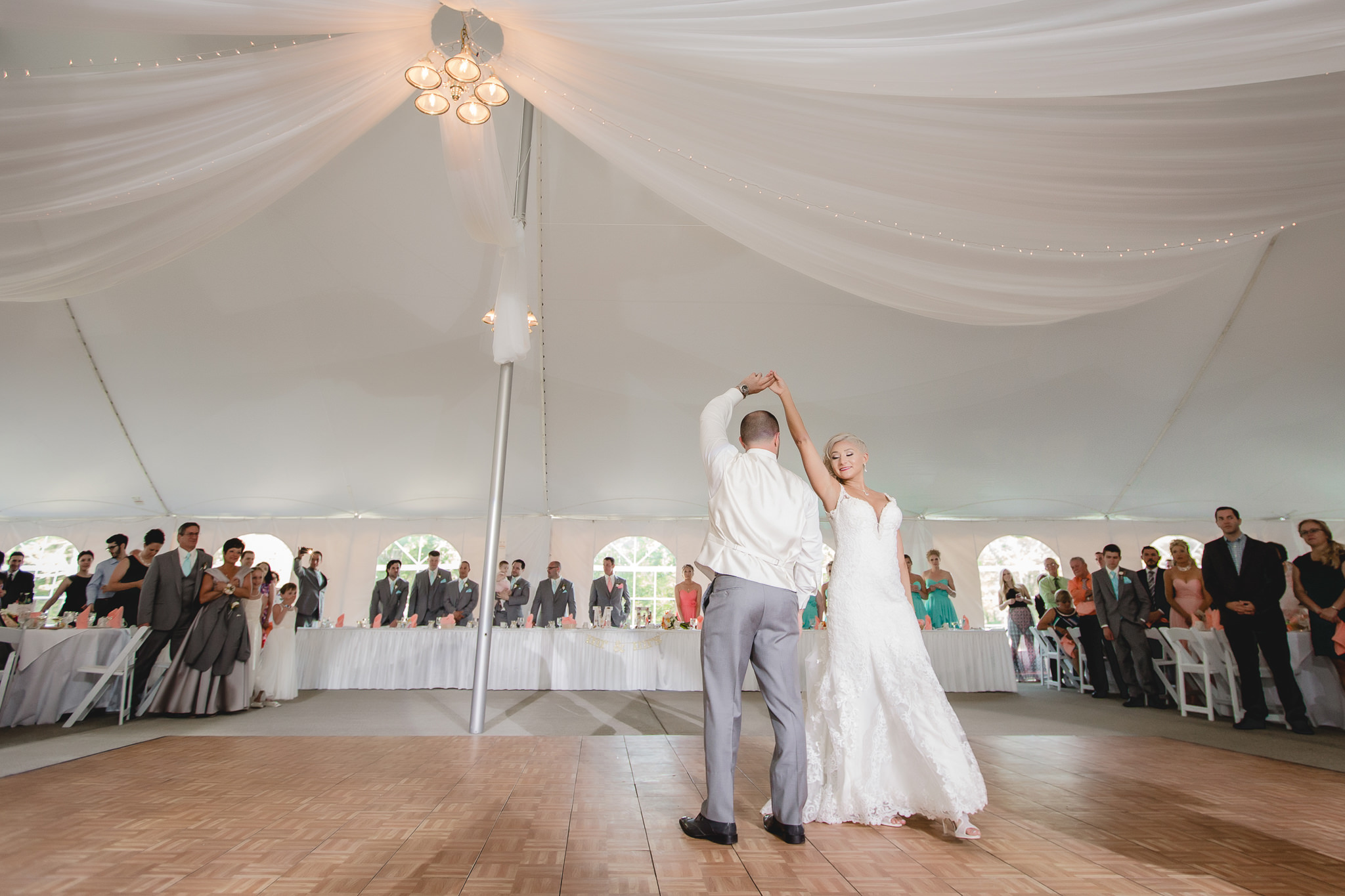 Bride and groom surprise guests with a choreographed dance